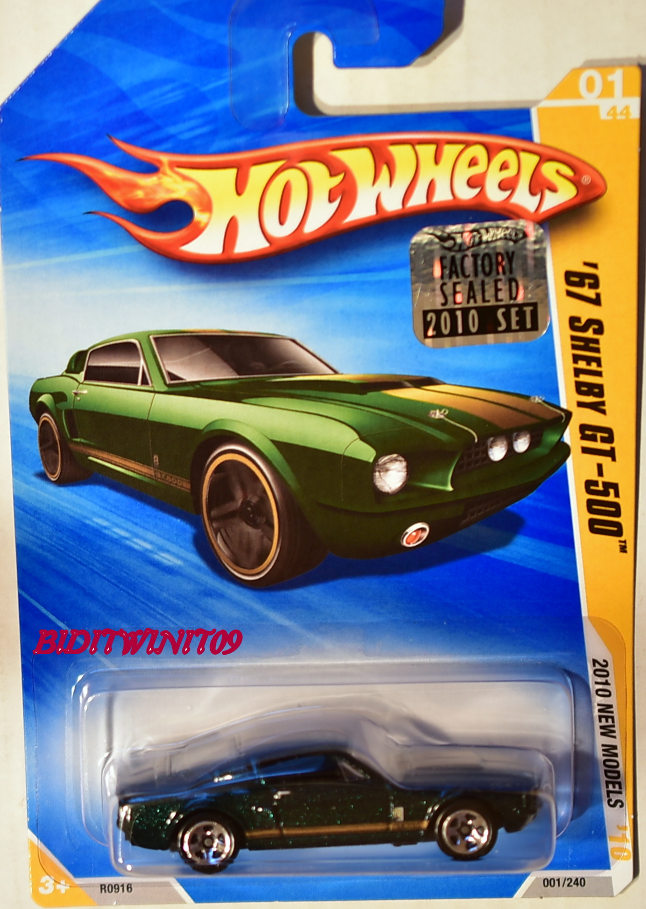 HOT WHEELS 2010 NEW MODELS '67 SHELBY GT-500 GREEN FACTORY SEALED E+
