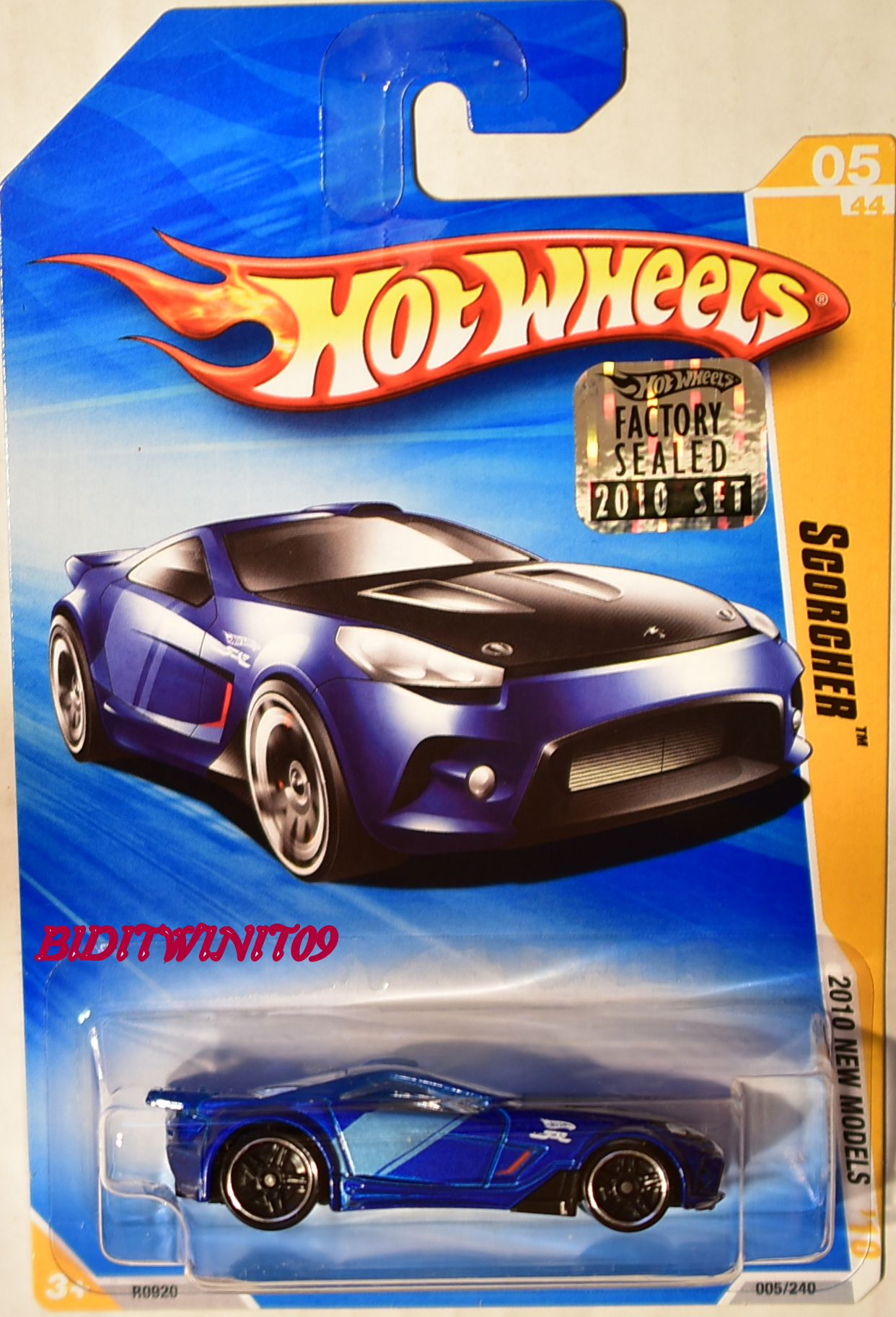 HOT WHEELS 2010 NEW MODELS SCORCHER #05/44 BLUE FACTORY SEALED E+
