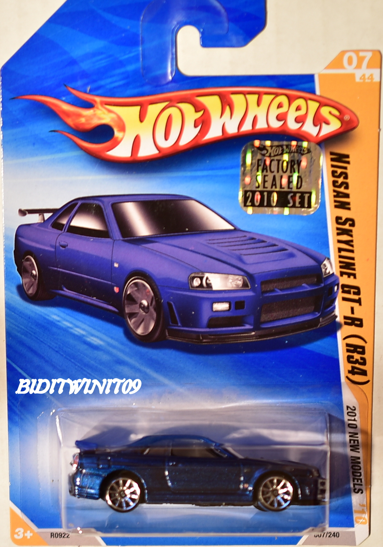 HOT WHEELS 2010 NEW MODELS NISSAN SLYLINE GT-R (R34) BLUE FACTORY SEALED E+