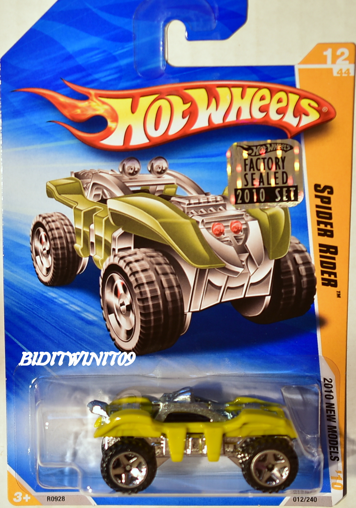 HOT WHEELS 2010 NEW MODELS SPIDER RIDER #12/44 YELLOW FACTORY SEALED E+