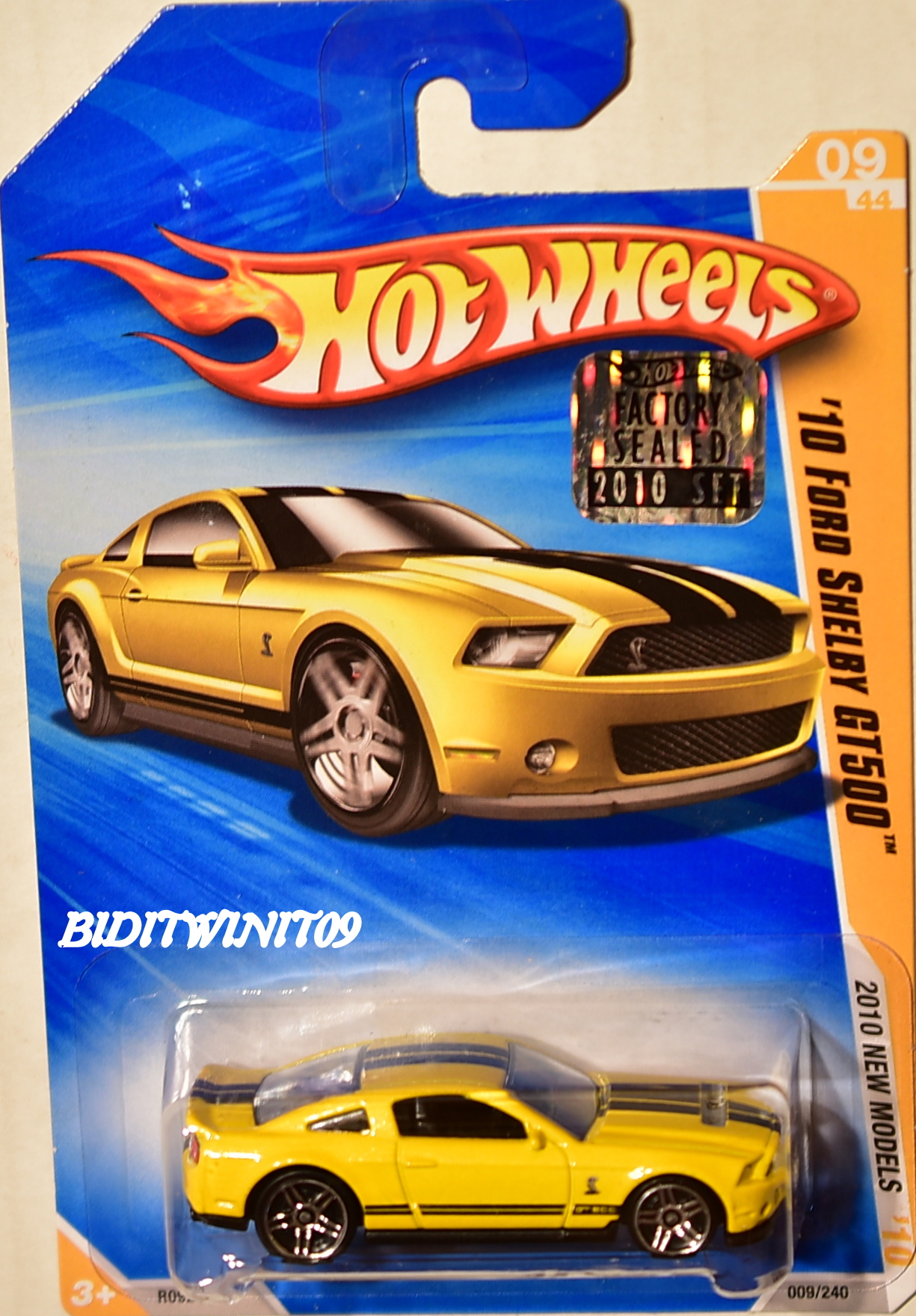 HOT WHEELS 2010 NEW MODELS '10 FORD SHELBY GT500 YELLOW FACTORY SEALED E+