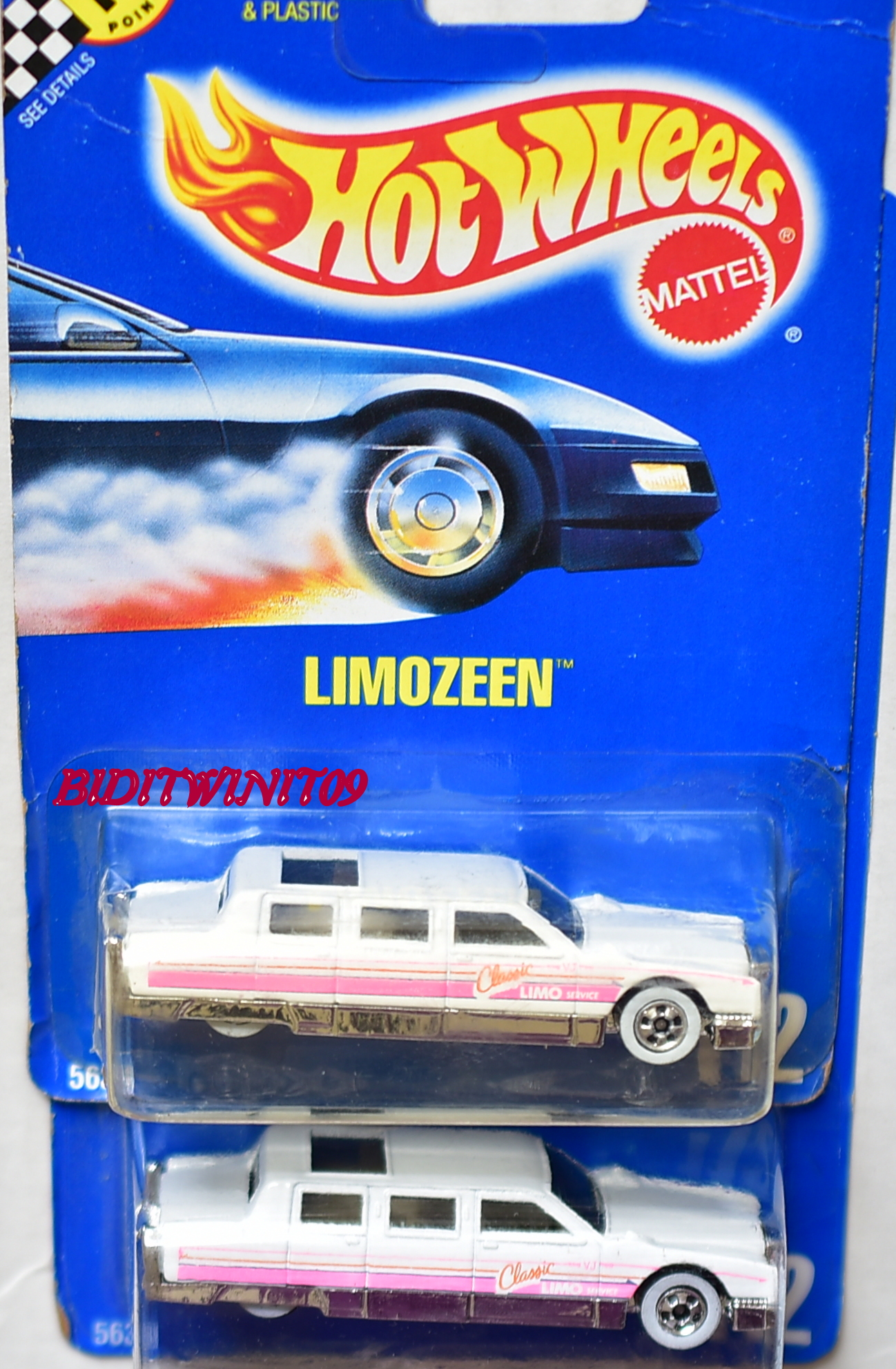HOT WHEELS 1990 BLUE CARD LIMOZEEN #112 COLOR VARIATION E+