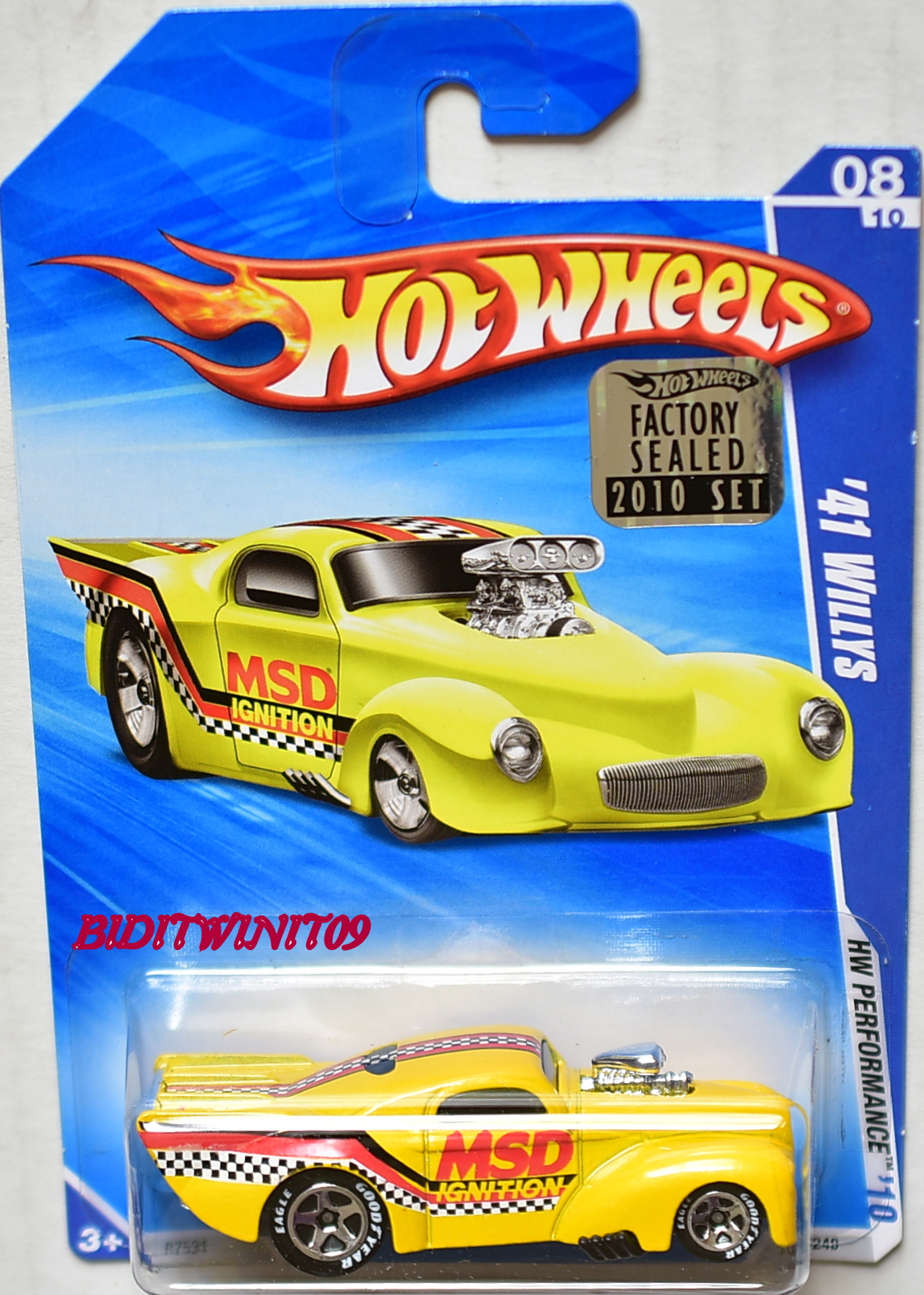 HOT WHEELS 2010 HW PERFORMANCE '41 WILLYS W/ GOODYEAR TIRES FACTORY SEALED E+