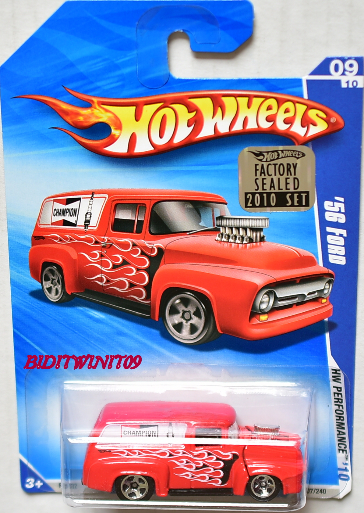HOT WHEELS 2010 HW PERFORMANCE '56 FORD #09/10 RED FACTORY SEALED E+