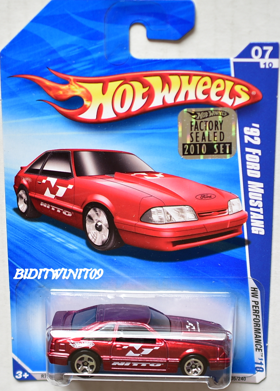 HOT WHEELS 2010 HW PERFORMANCE '92 FORD MUSTANG #07/10 RED FACTORY SEALED E+