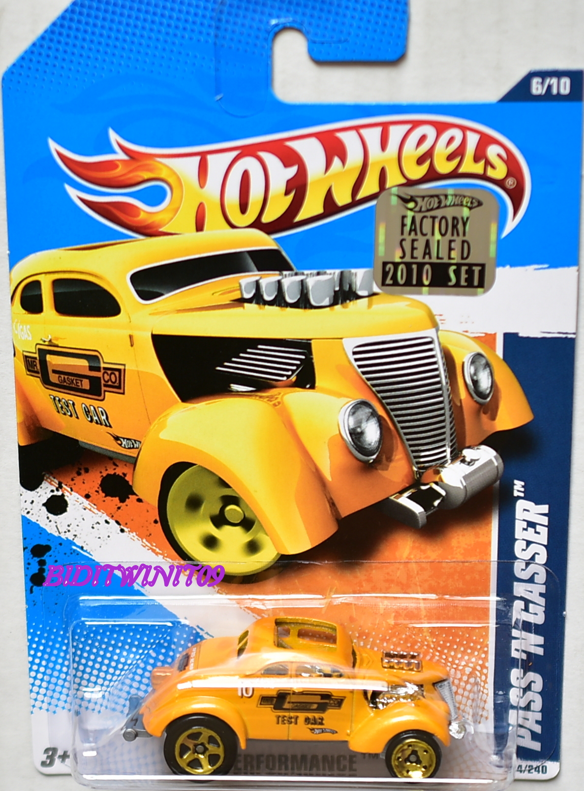 HOT WHEELS 2010 HW PERFORMANCE PASS'N GASSER #06/10 YELLOW FACTORY SEALED E+