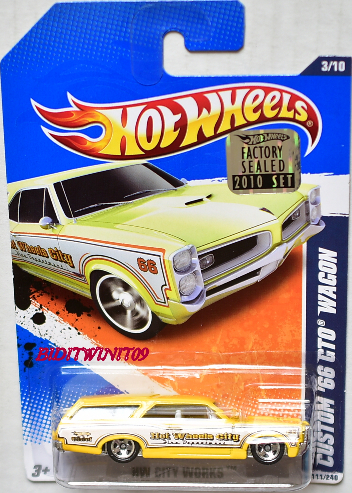 HOT WHEELS 2010 HW CITY WORKS CUSTOM '66 GTO WAGON YELLOW FACTORY SEALED E+