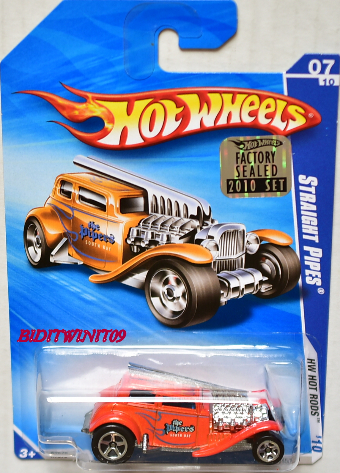 HOT WHEELS 2010 HW HOT RODS STRAIGHT PIPES ORANGE FACTORY SEALED