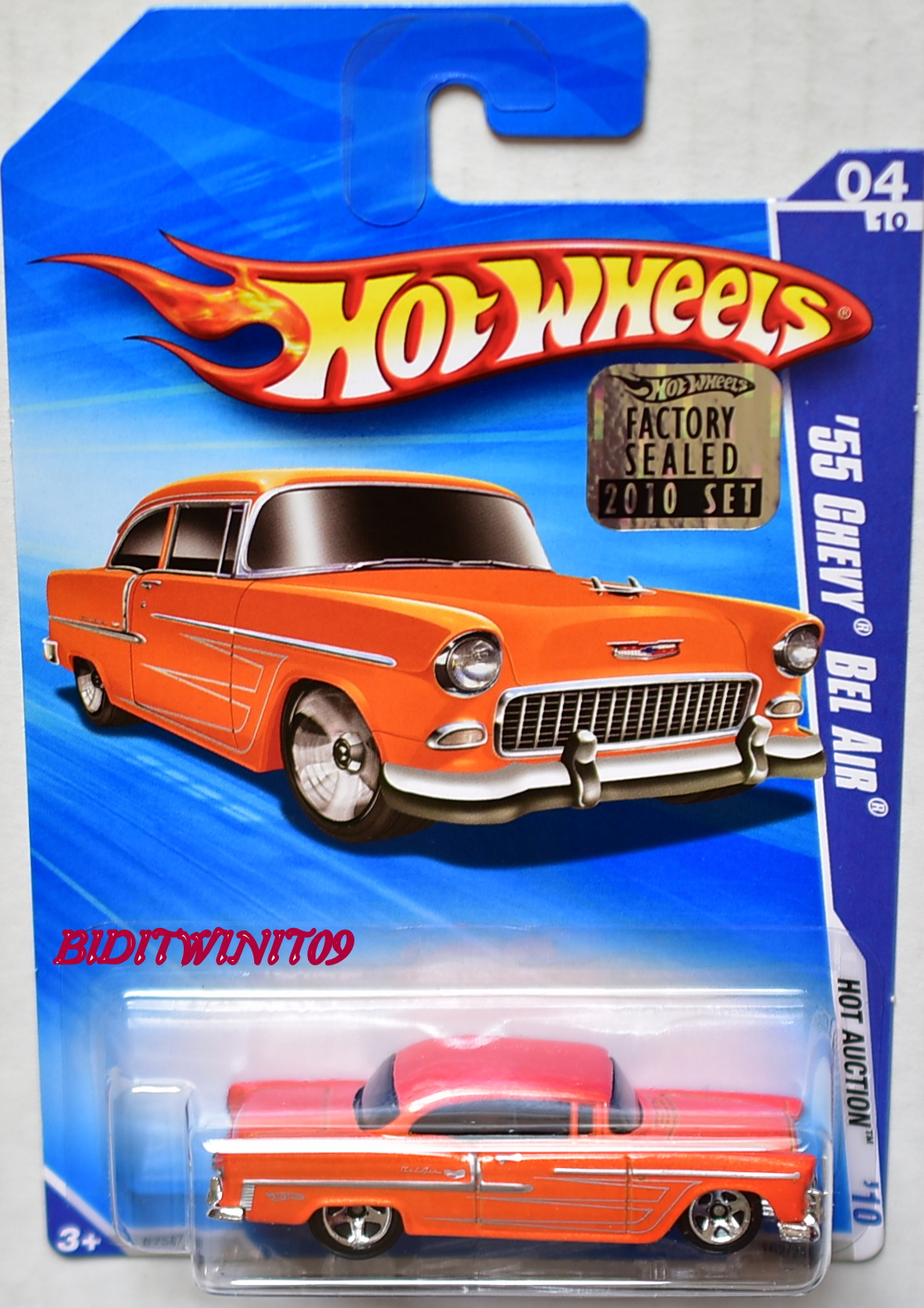 HOT WHEELS 2010 HOT AUCTION '55 CHEVY BEL AIR #04/10 ORANGE FACTORY SEALED E+