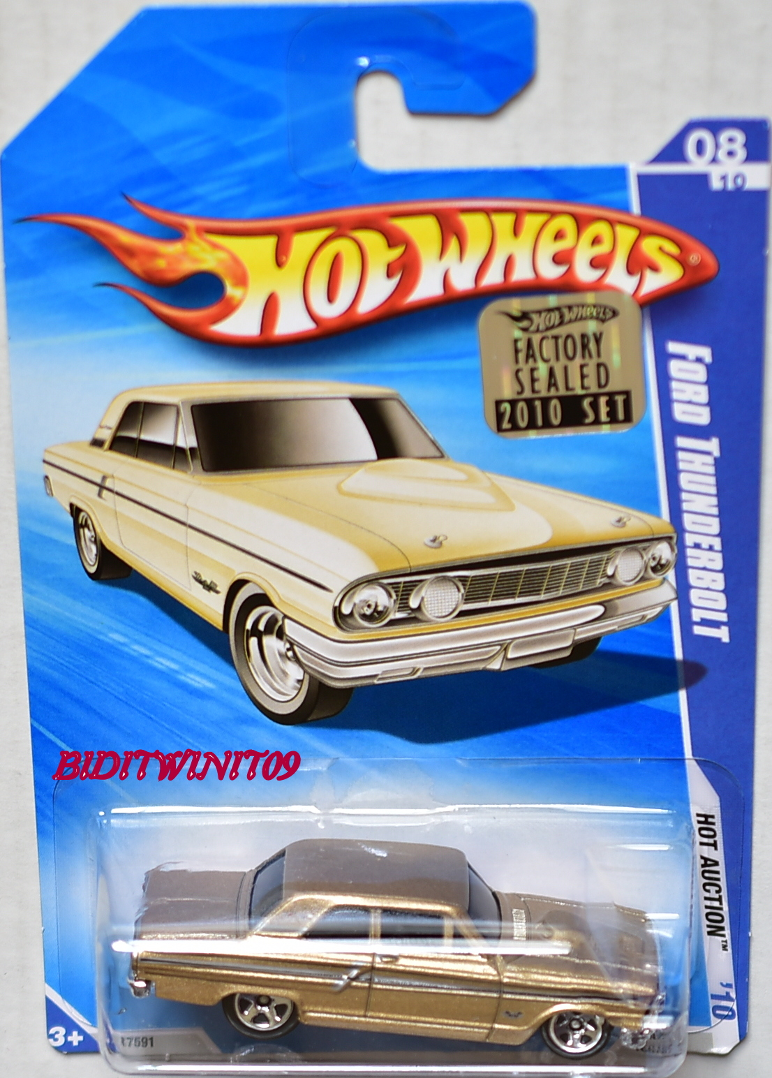 HOT WHEELS 2010 HOT AUCTION FORD THUNDERBOLT #08/10 FACTORY SEALED E+
