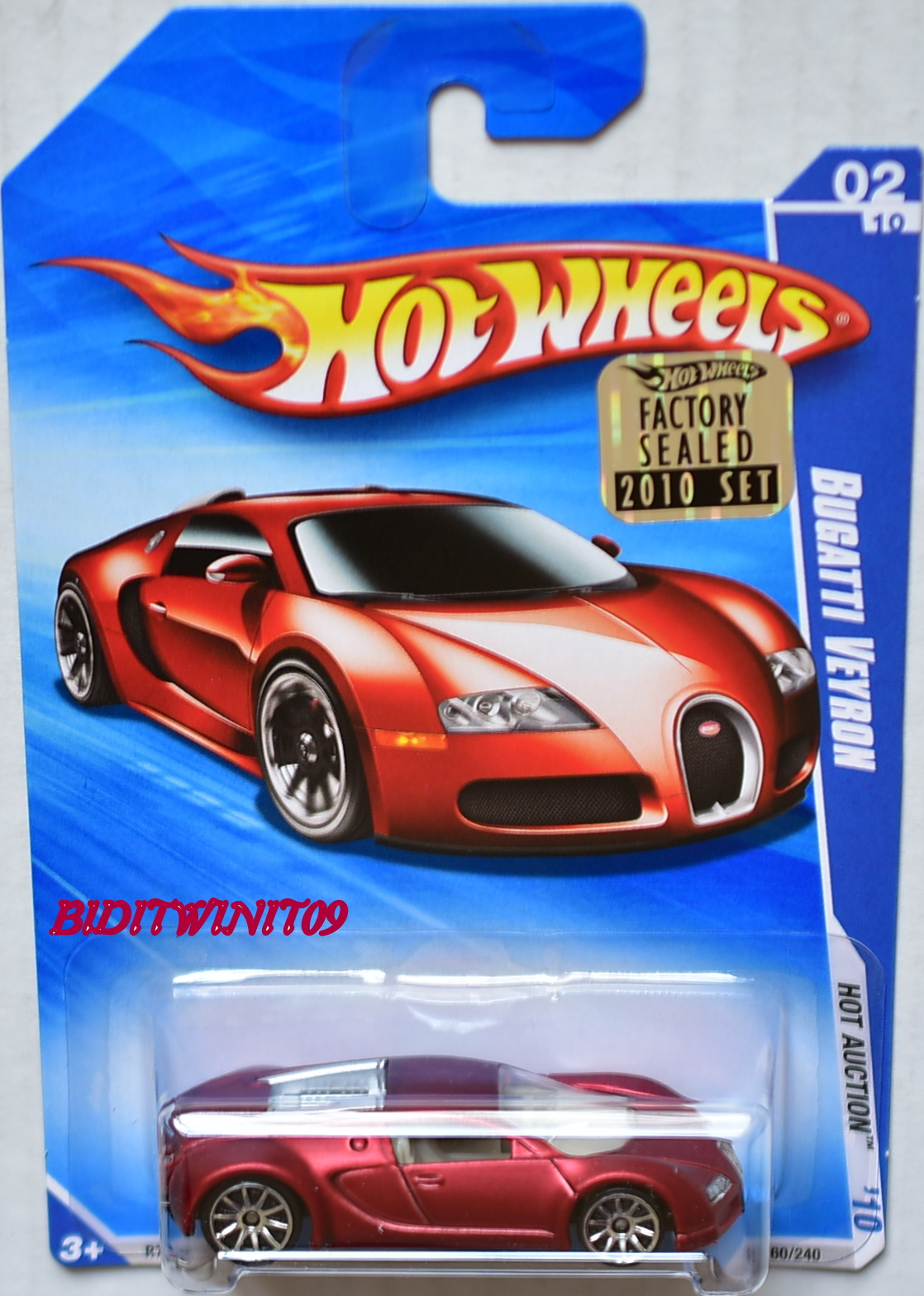 HOT WHEELS 2010 HOT AUCTION BUGATTI VEYRON #02/10 RED SATIN FACTORY SEALED E+