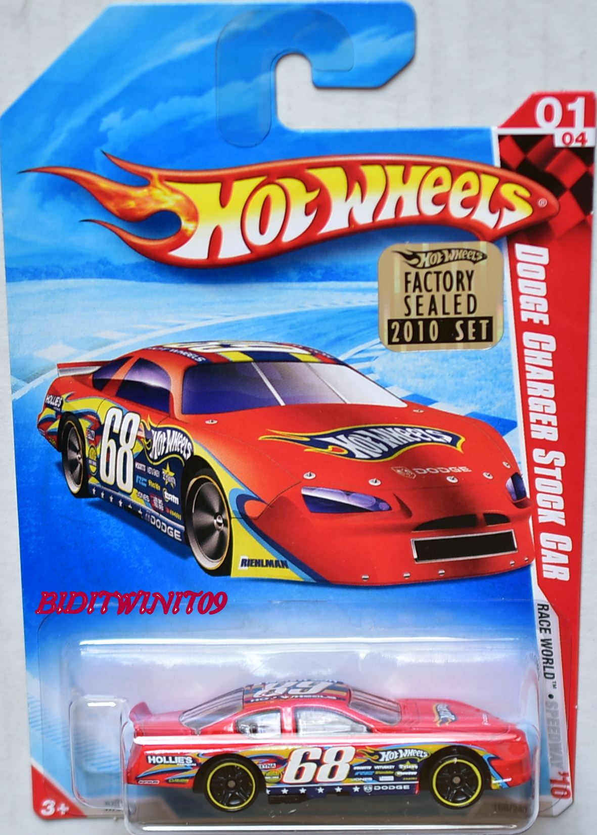 HOT WHEELS 2010 RACE WORLD DODGE CHARGER STOCK CAR RED FACTORY SEALED
