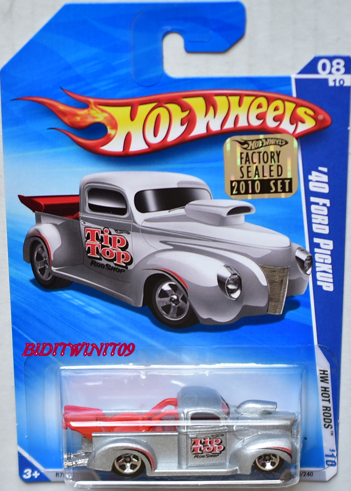 HOT WHEELS 2010 HW HOT RODS '40 FORD PICKUP #08/10 SILVER FACTORY SEALED E+