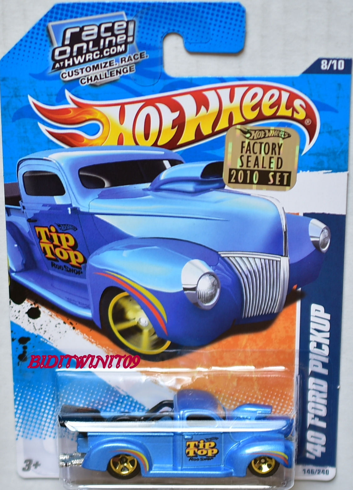 HOT WHEELS 2010 HW HOT RODS '40 FORD PICKUP #08/10 BLUE FACTORY SEALED E+