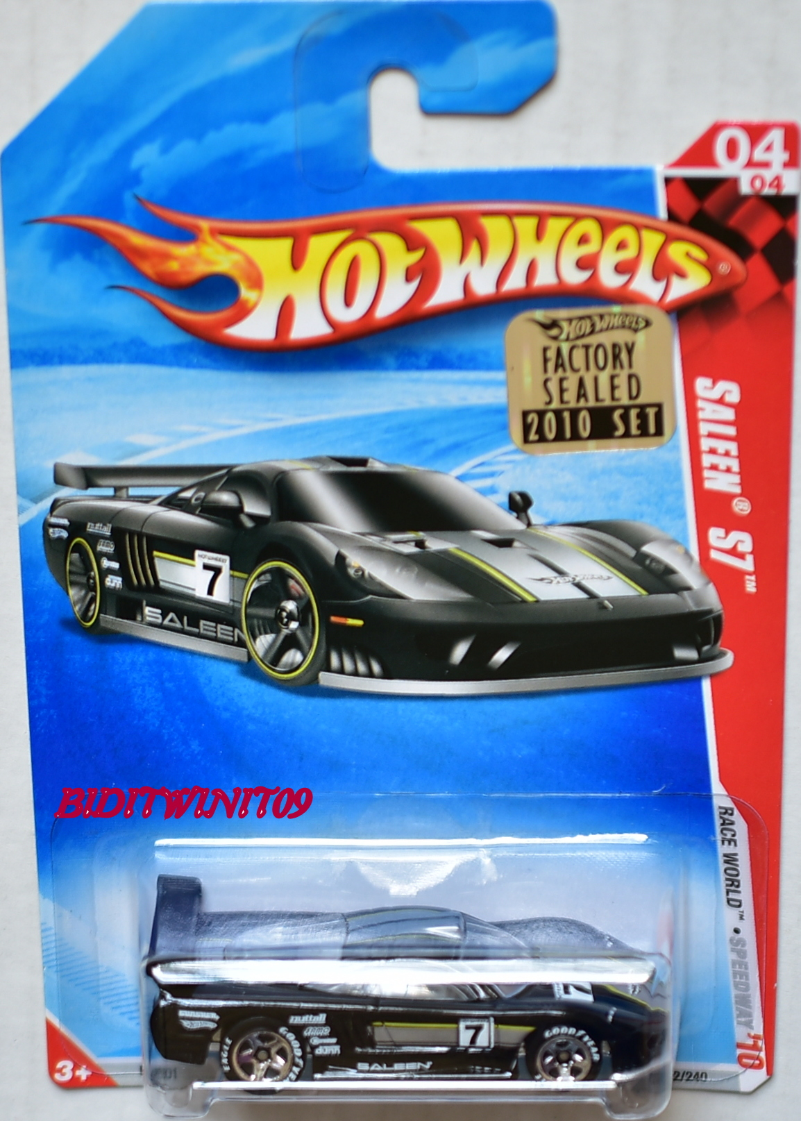 HOT WHEELS 2010 RACE WORLD SALEEN S7 GOODYEAR TIRES FACTORY SEALED E+