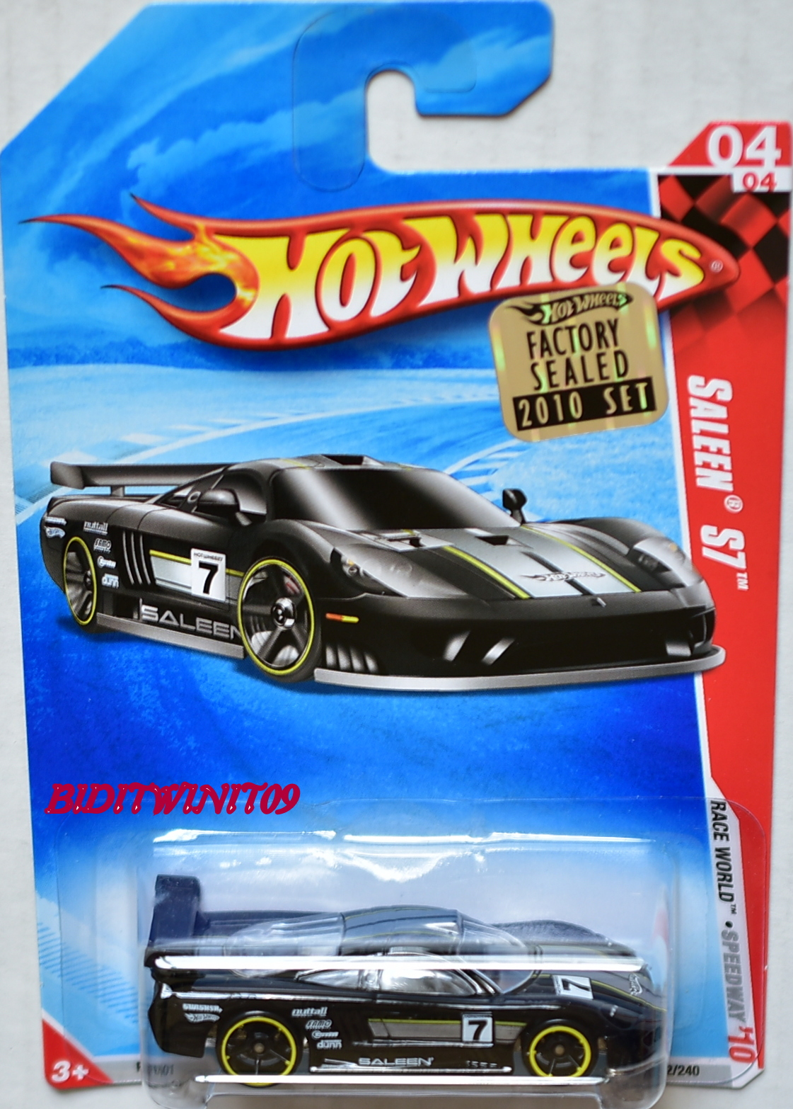 HOT WHEELS 2010 RACE WORLD SALEEN S7 #04/04 BLACK FACTORY SEALED E+