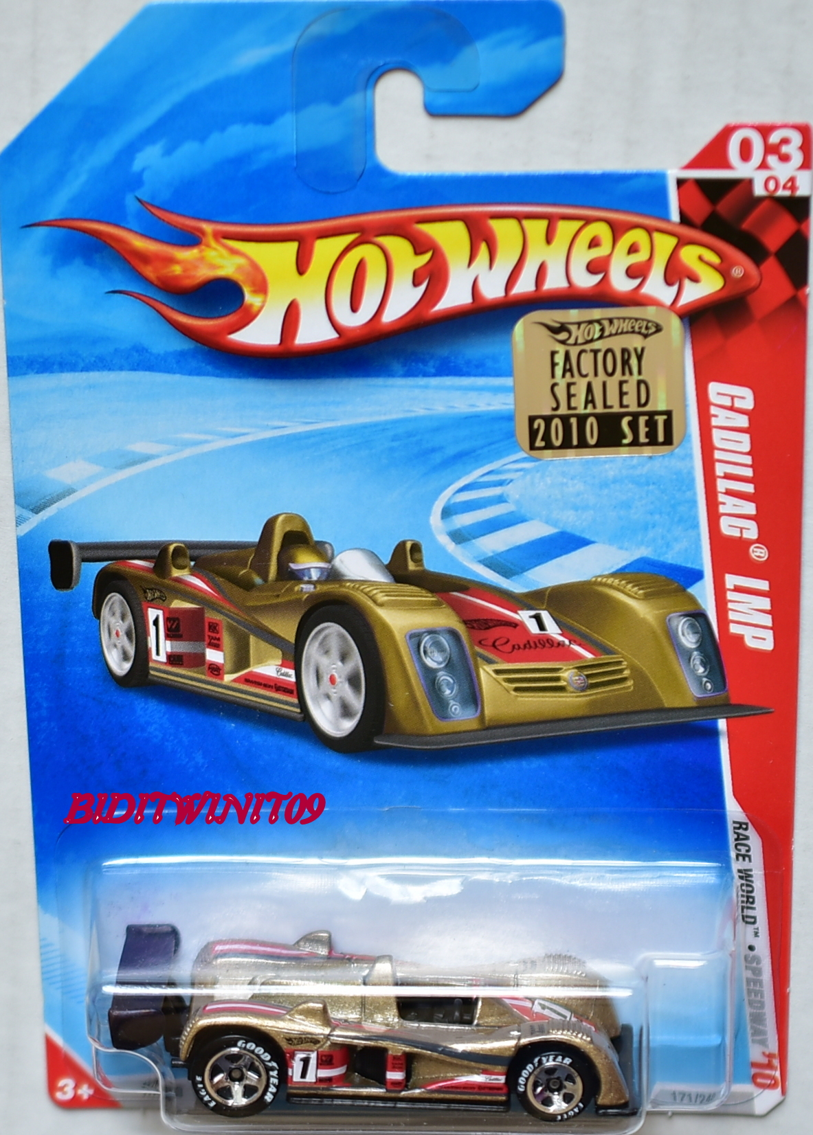 HOT WHEELS 2010 RACE WORLD CADILLAC LMP #03/04 GOODYEAR TIRES FACTORY SEALED