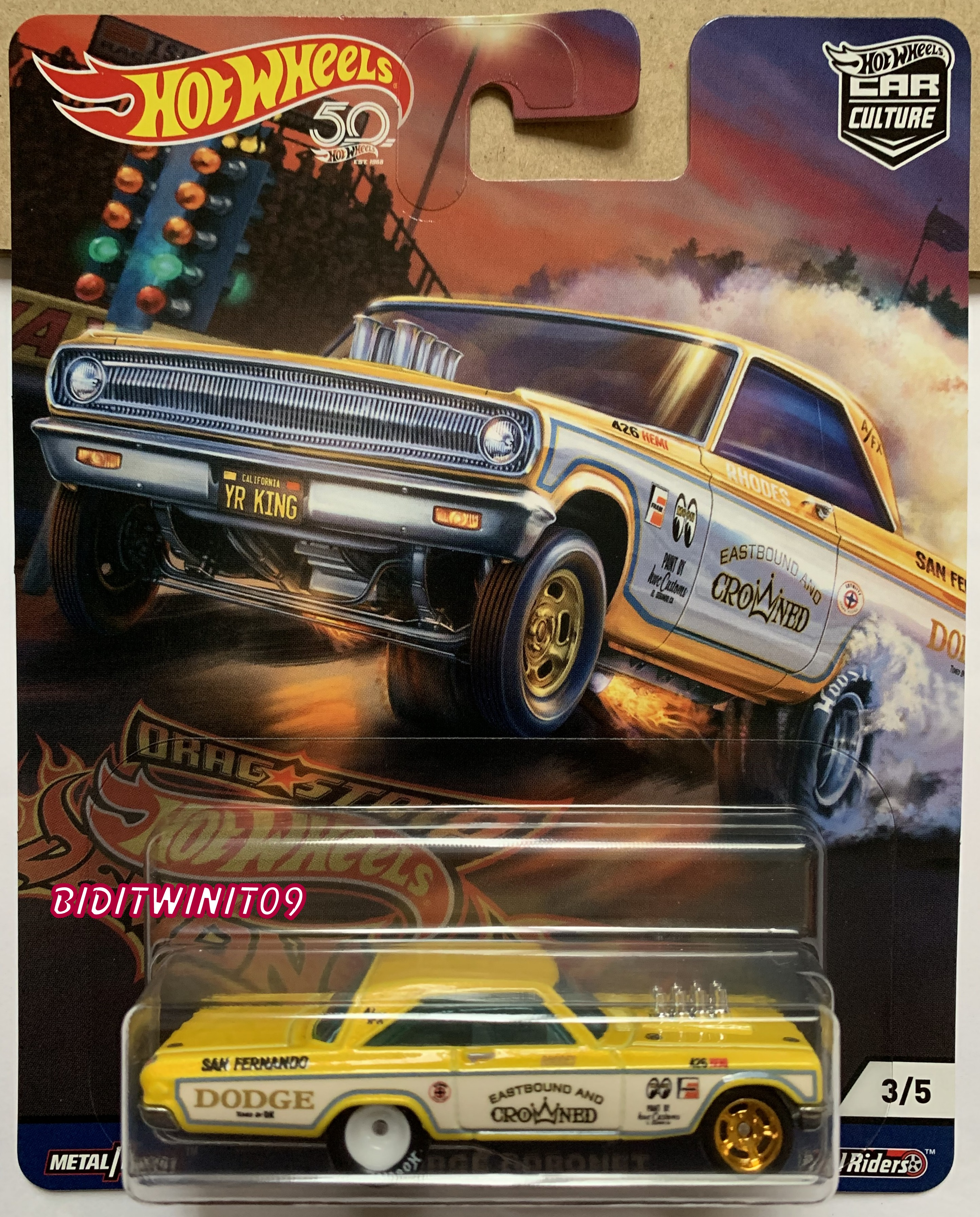 HOT WHEELS 2018 50TH CAR CULTURE DRAG STRIP DEMONS '65 DODGE CORONET IN STOCK