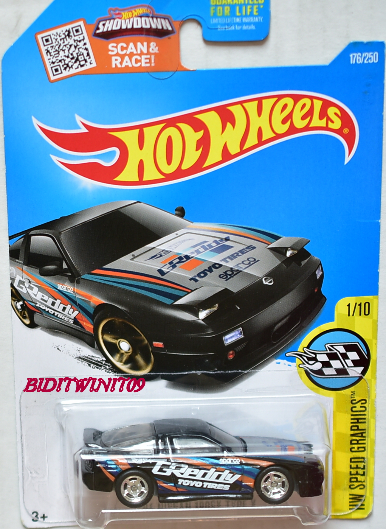 HOT WHEELS 2016 HW SPEED GRAPHICS '96 NISSAN 180SX TYPE X CUSTOM MADE E+