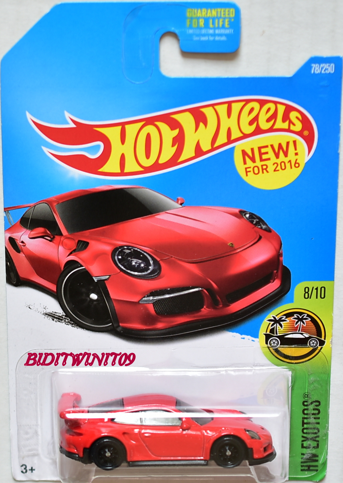 HOT WHEELS 2016 HW EXOTICS PORSCHE 911 GT3 RS CUSTOM MADE E+