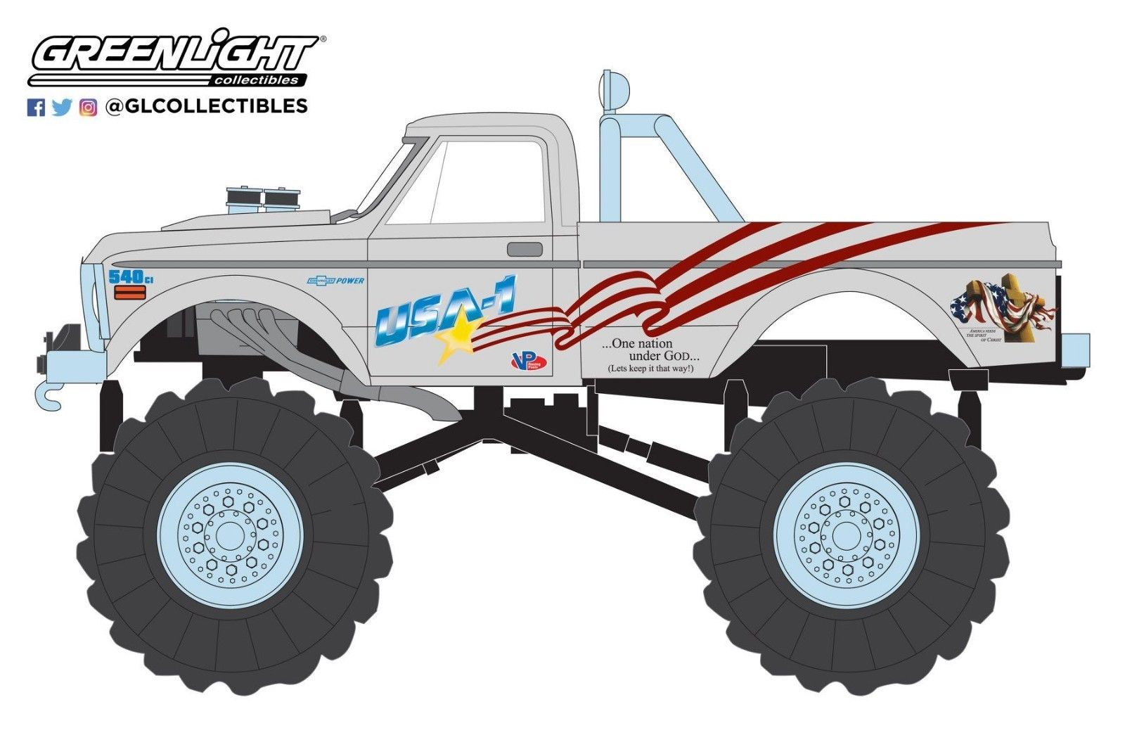 GREENLIGHT KINGS OF CRUNCH 1970 CHEVY K-10 MONSTER TRUCK USA-1 IN STOCK