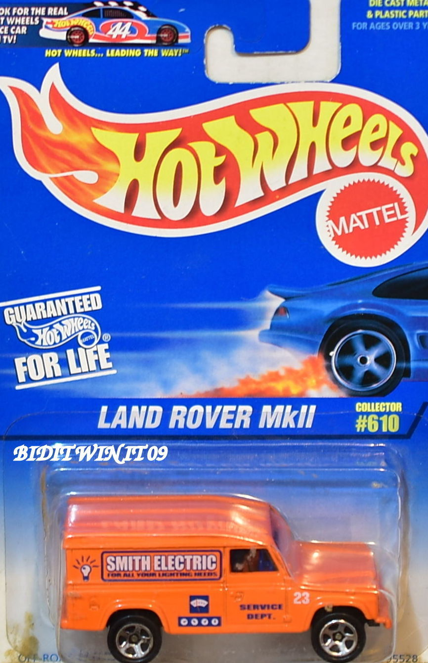 HOT WHEELS 1997 LAND ROVER MKII #610 SMITH ELECTRIC ORANGE
