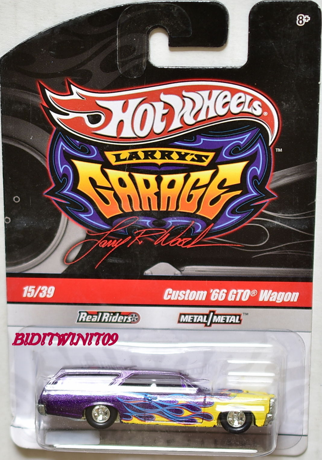 HOT WHEELS LARRY'S GARAGE #15/39 CUSTOM '66 GTO WAGON PURPLE CHASE E+