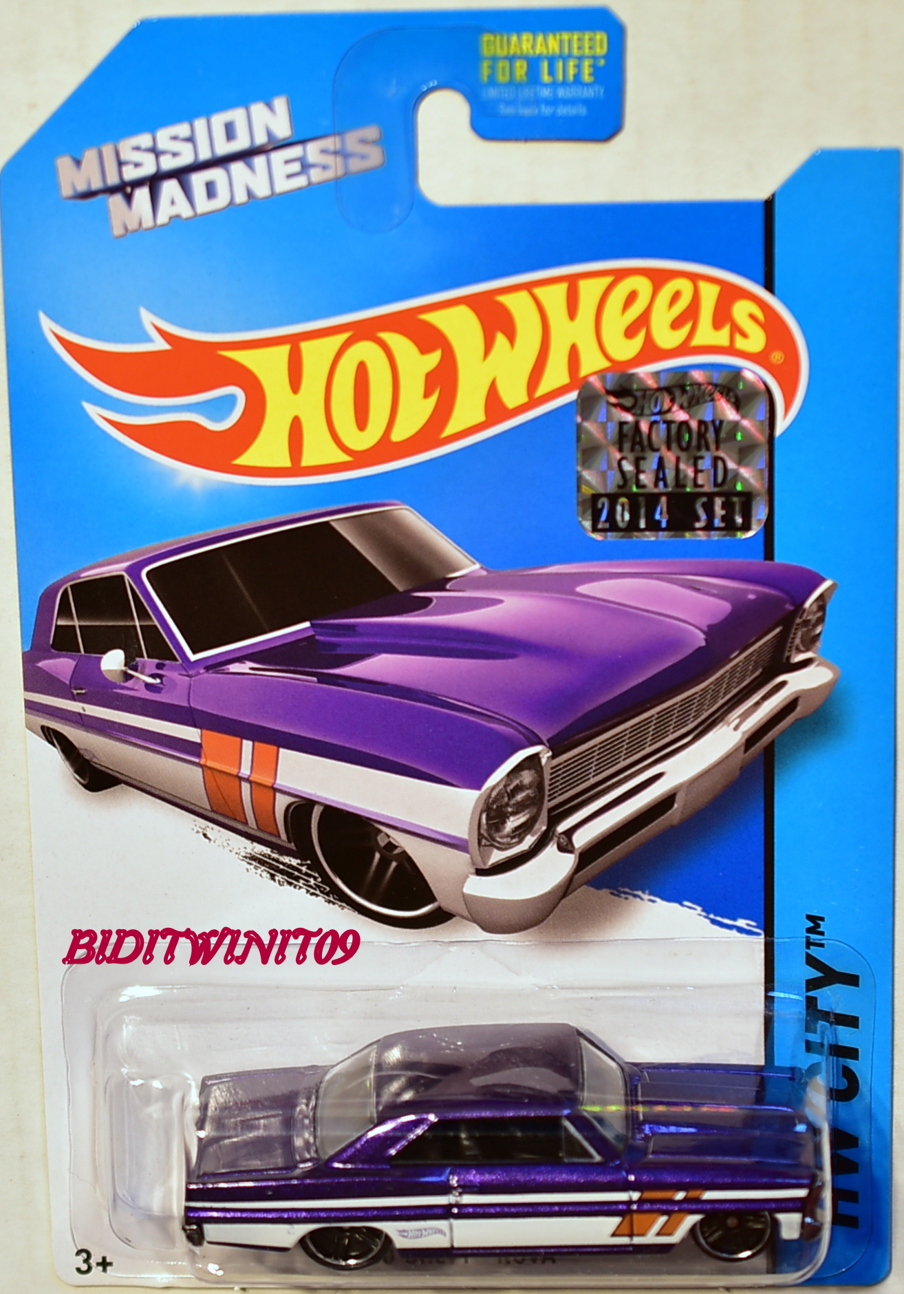HOT WHEELS 2014 HW CITY '66 CHEVY NOVA FACTORY SEALED