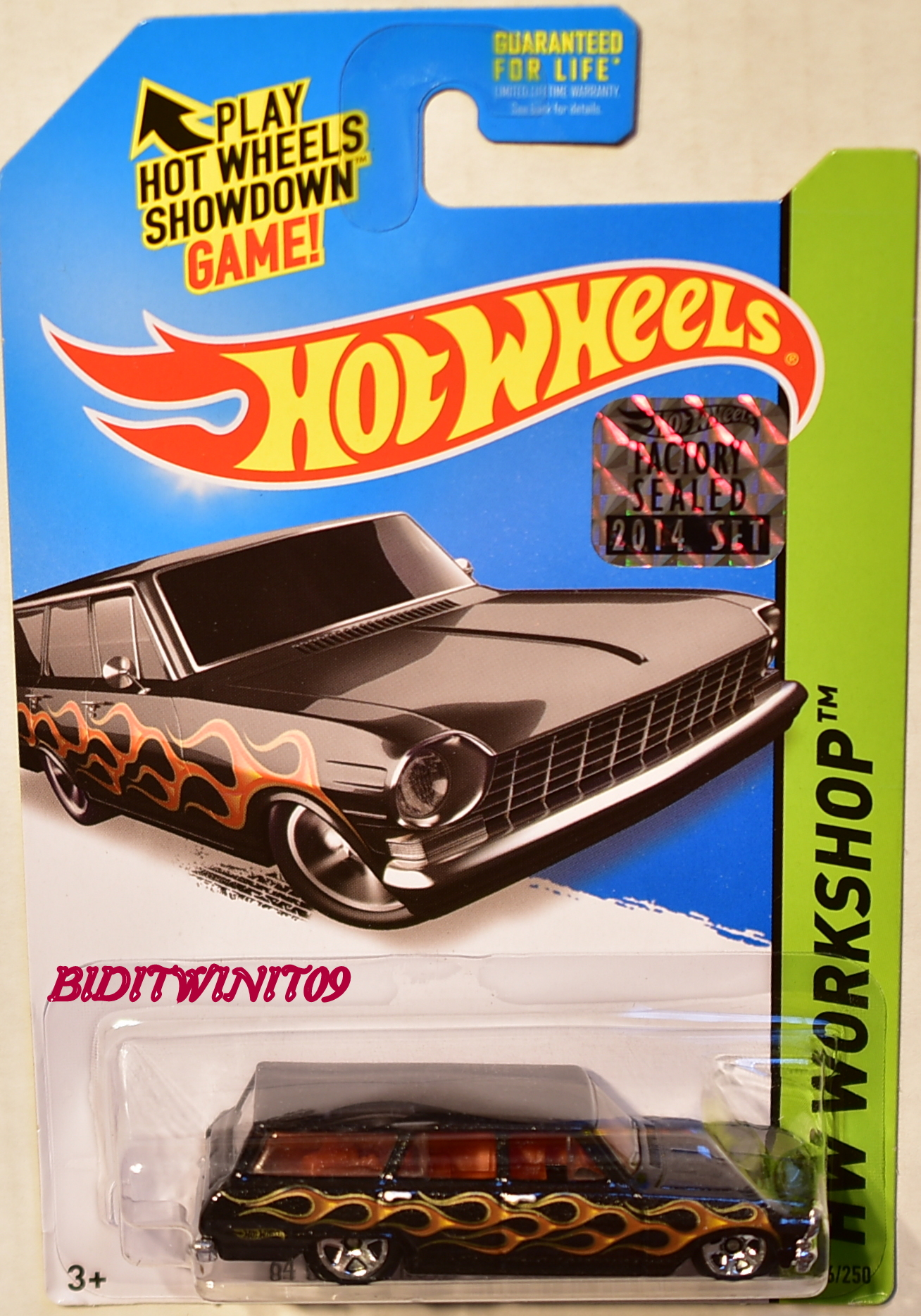 HOT WHEELS 2014 HW WORKSHOP '64 CHEVY NOVA STATION WAGON BLACK FACTORY SEALED