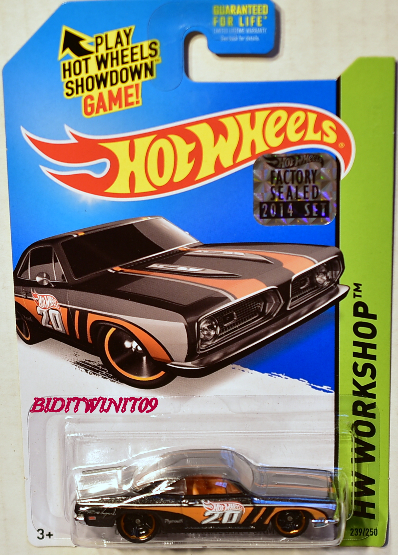 HOT WHEELS 2014 WORKSHOP '68 PLYMOUTH BARRACUDA FORMULA S BLACK FACTORY SEALED