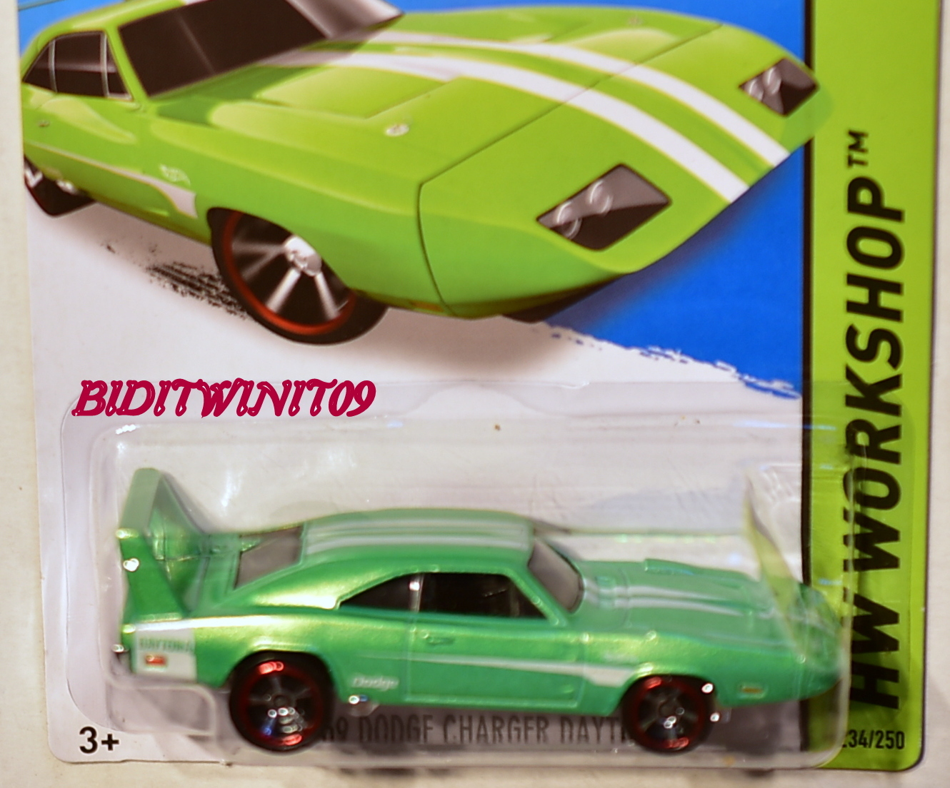 HOT WHEELS 2014 HW WORKSHOP '69 DODGE CHARGER DAYTONA GREEN FACTORY SEALED