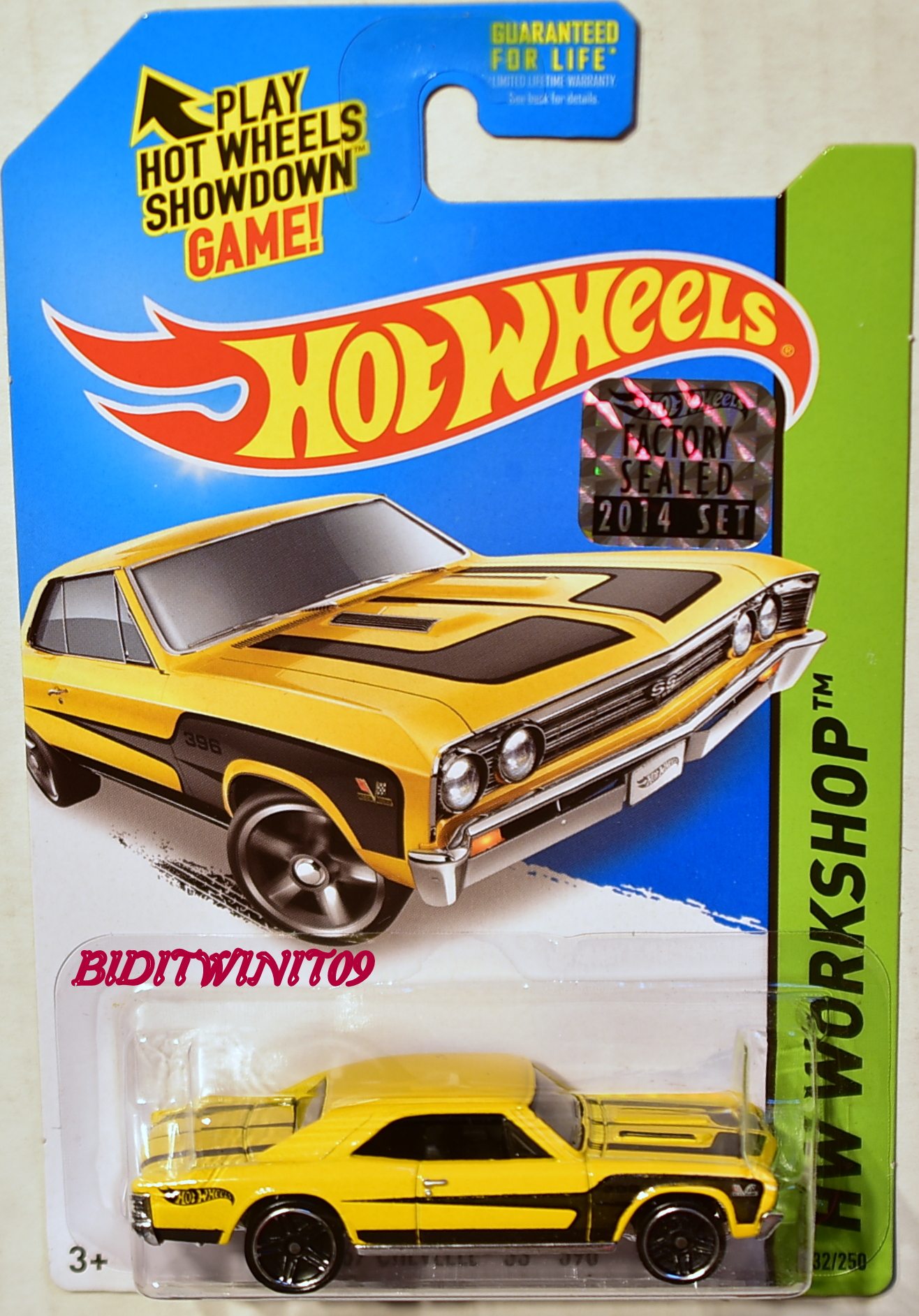HOT WHEELS 2014 HW WORKSHOP '67 CHEVELLE SS 396 FACTORY SEALED YELLOW