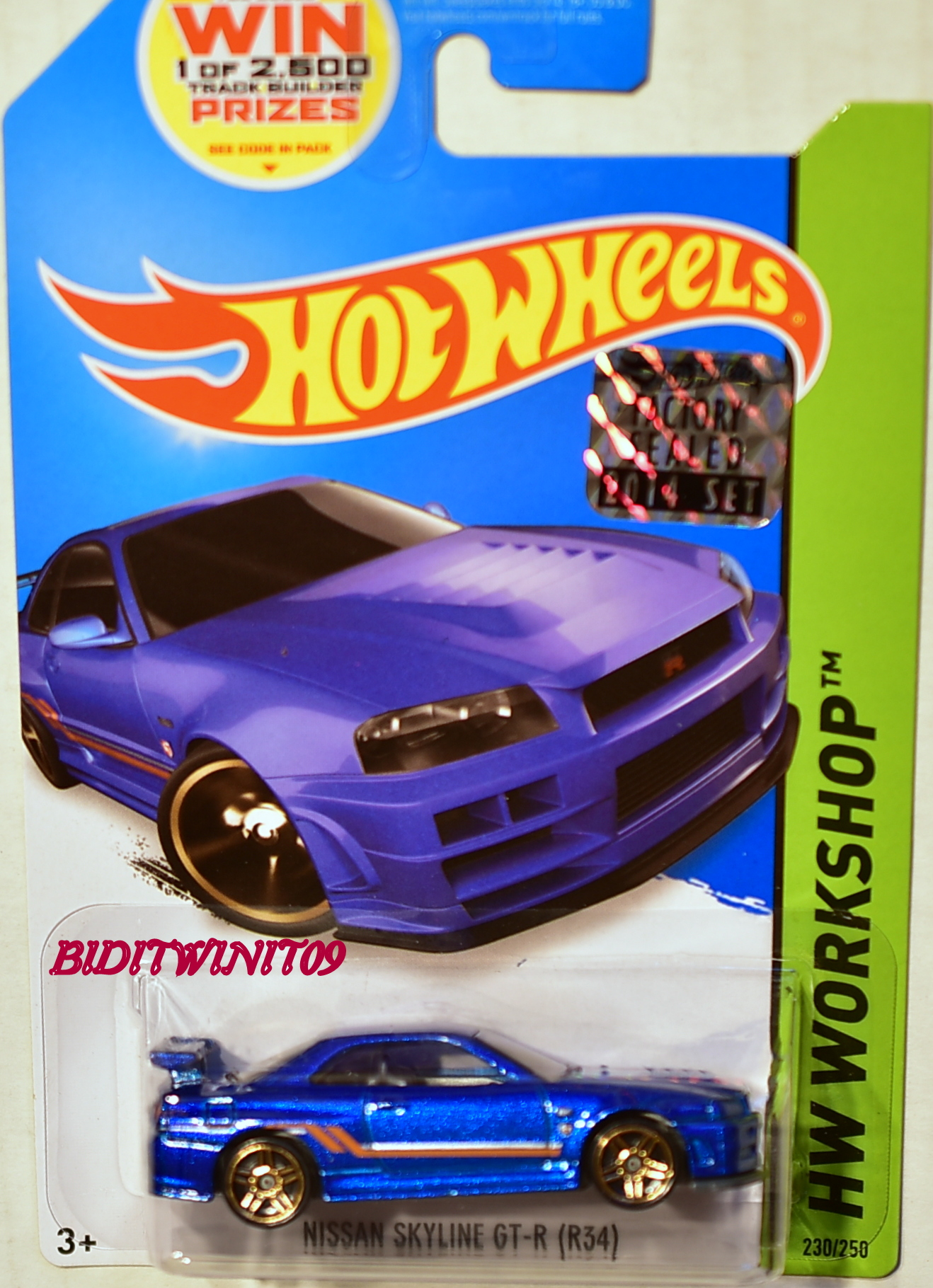HOT WHEELS 2014 HW WORKSHOP NISSAN SKYLINE GT-R (R34) BLUE FACTORY SEALED
