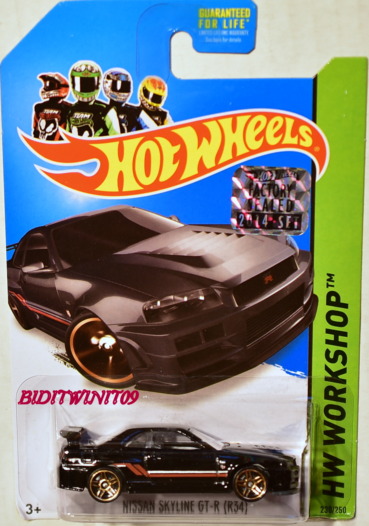 HOT WHEELS 2014 HW WORKSHOP NISSAN SKYLINE GT-R (R34) BLACK FACTORY SEALED