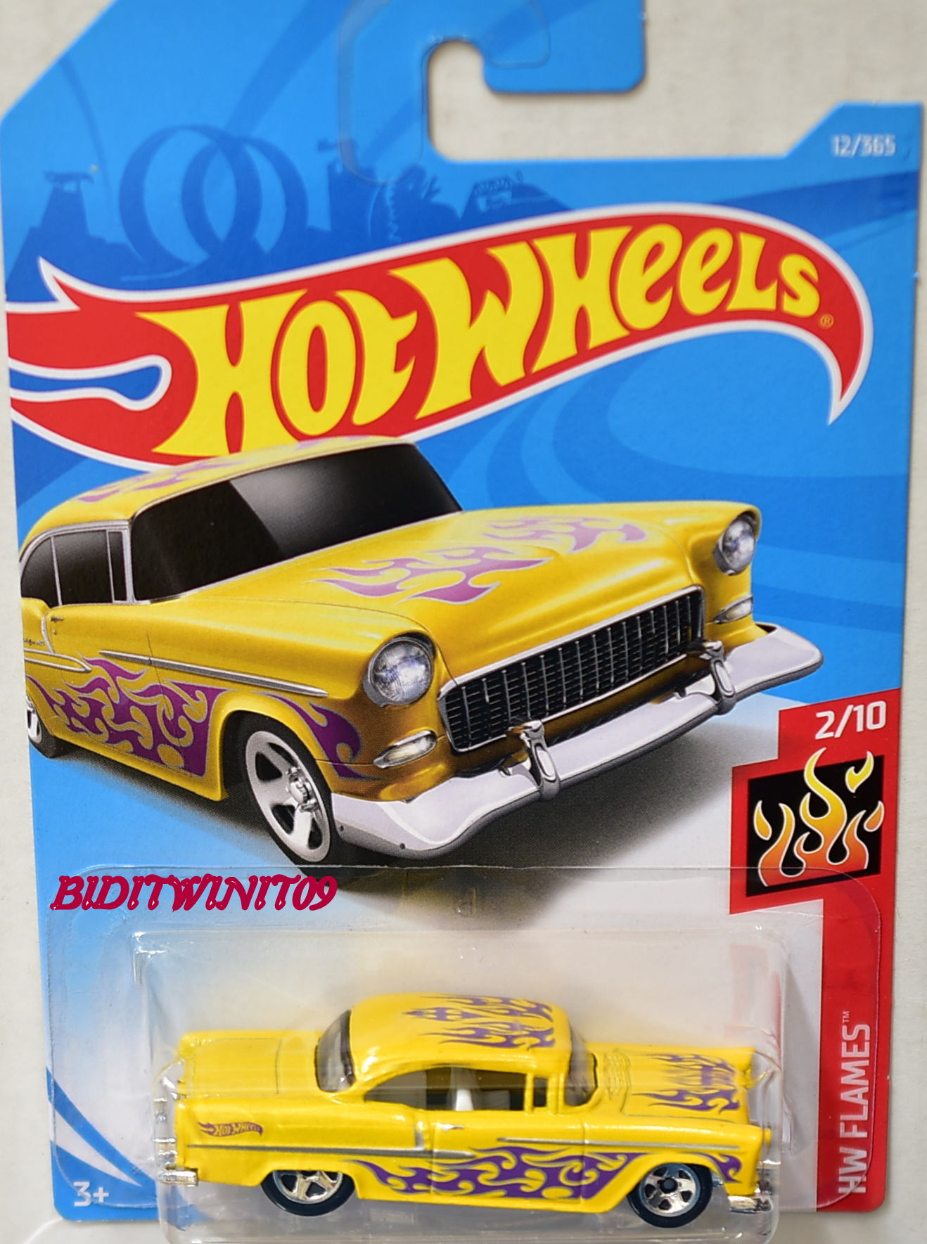 HOT WHEELS 2018 HW FLAMES '55 CHEVY YELLOW