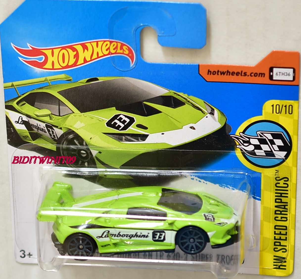 HOT WHEELS 2017 LAMBORGHINI HURACAN LP 620-2 SUPER TROFEO GREEN SHORT CARD