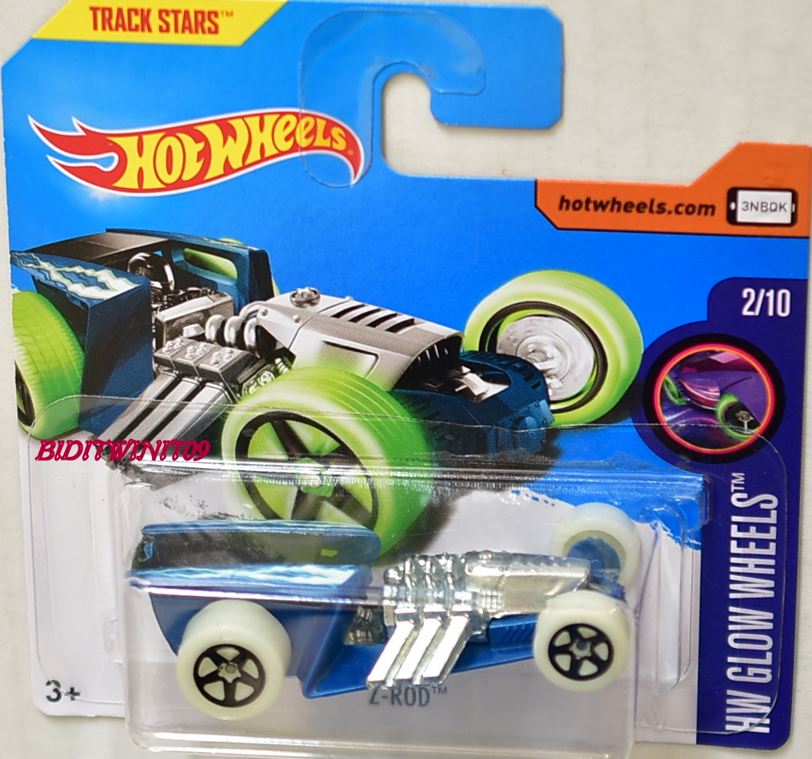 HOT WHEELS 2017 HW GLOW WHEELS Z-ROD SHORT CARD