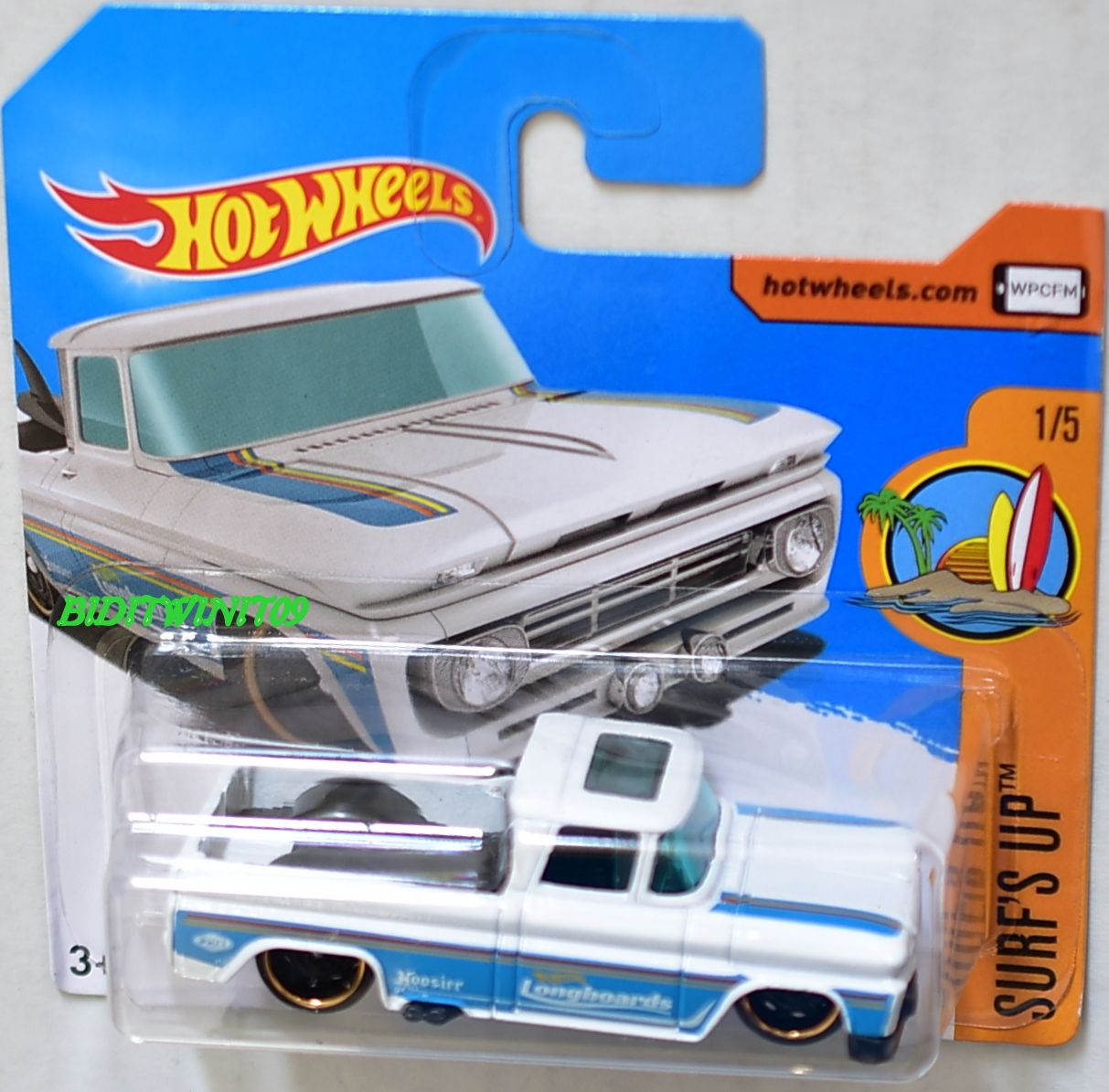 HOT WHEELS 2017 SURF'S UP CUSTOM '62 CHEVY PICKUP #1/5 WHITE SHORT CARD