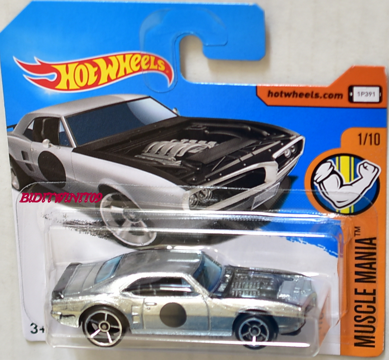 HOT WHEELS 2017 MUSCLE MANIA CUSTOM '67 PONTIAC FIREBIRD ZAMAC SHORT CARD