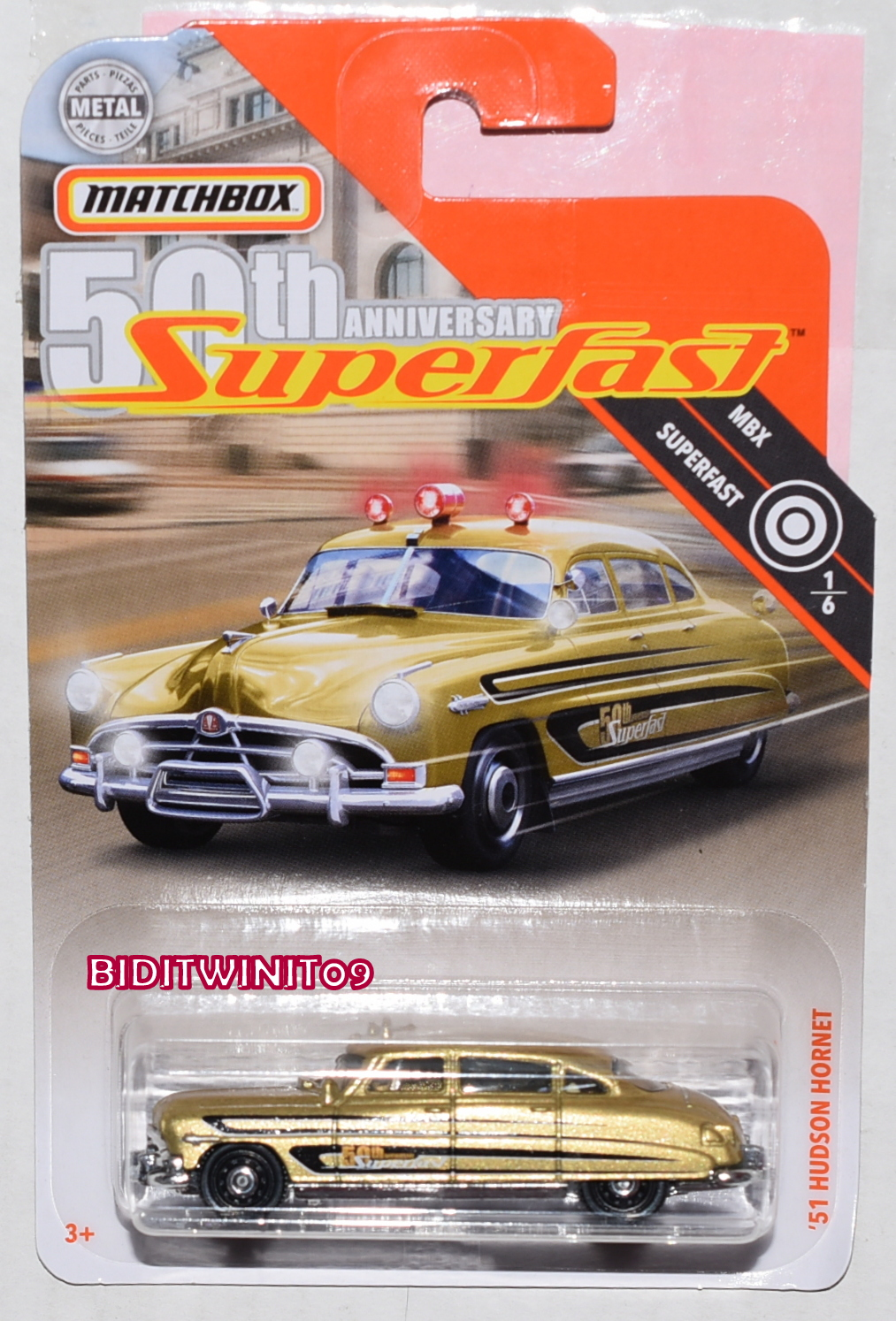 MATCHBOX 2019 MBX SUPERFAST '51 HUDSON HORNET GOLD