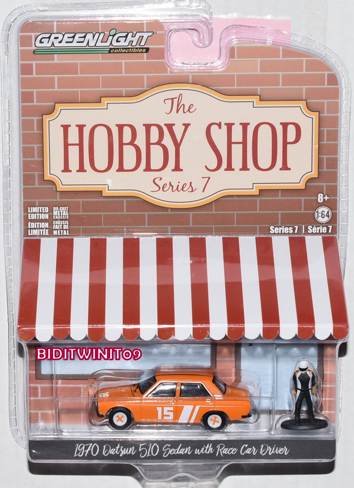 GREENLIGHT HOBBY SHOP SERIES 7 1970 DATSUN 510 SEDAN WITH RACE CAR DRIVER