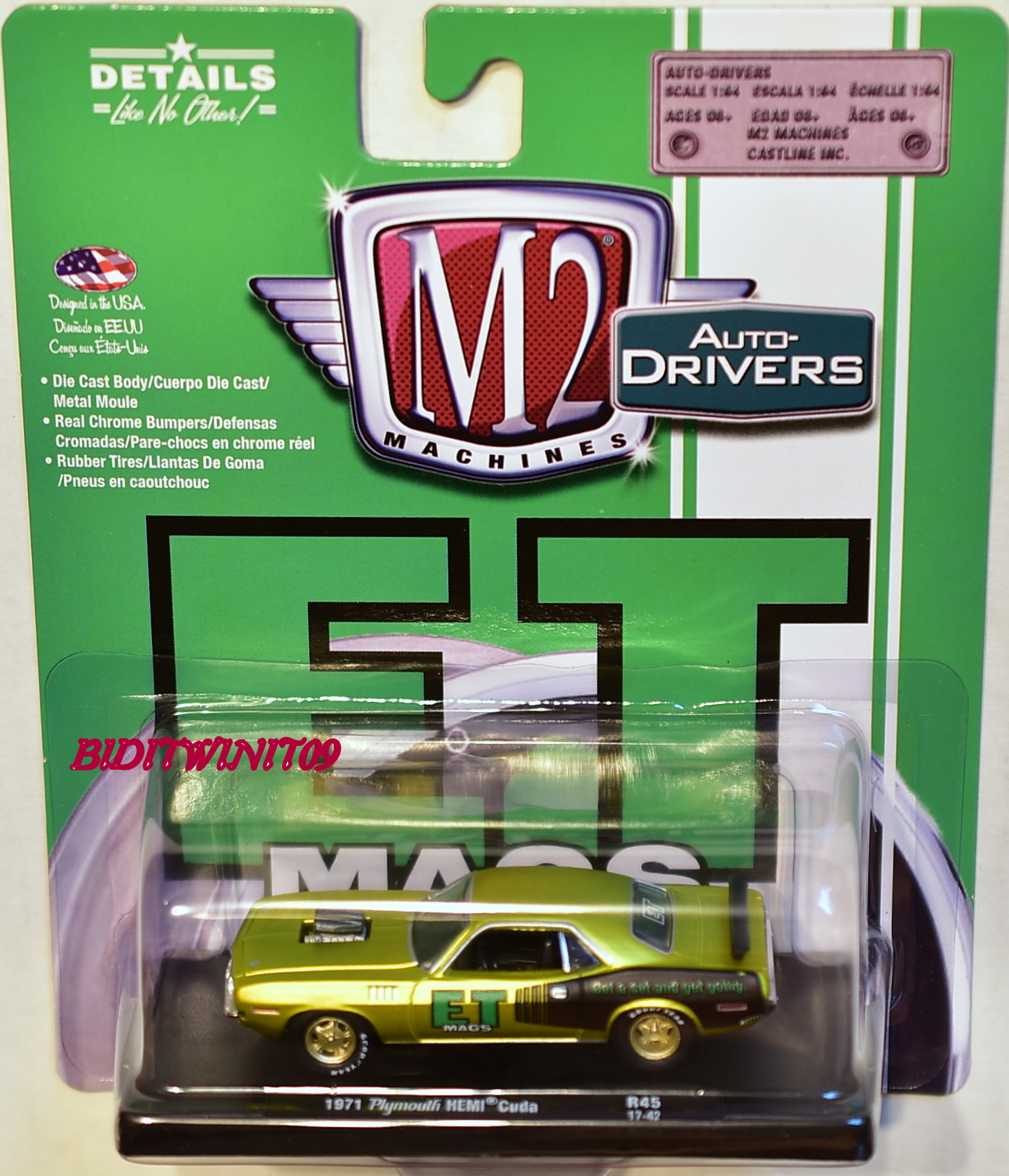 M2 MACHINES AUTO DRIVERS ET MAGS 1971 PLYMOUTH HEMI CUDA R45