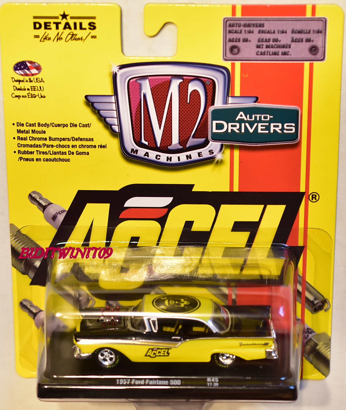 M2 MACHINES AUTO DRIVERS ACCEL 1957 FORD FAIRLANE R45