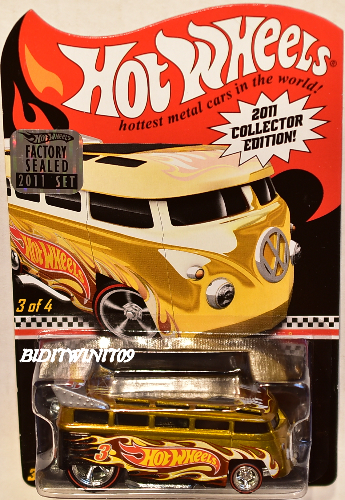 HOT WHEELS 2011 K-MART MAIL IN VOLKSWAGEN T1 DRAG BUS #3/4 FACTORY SEALED