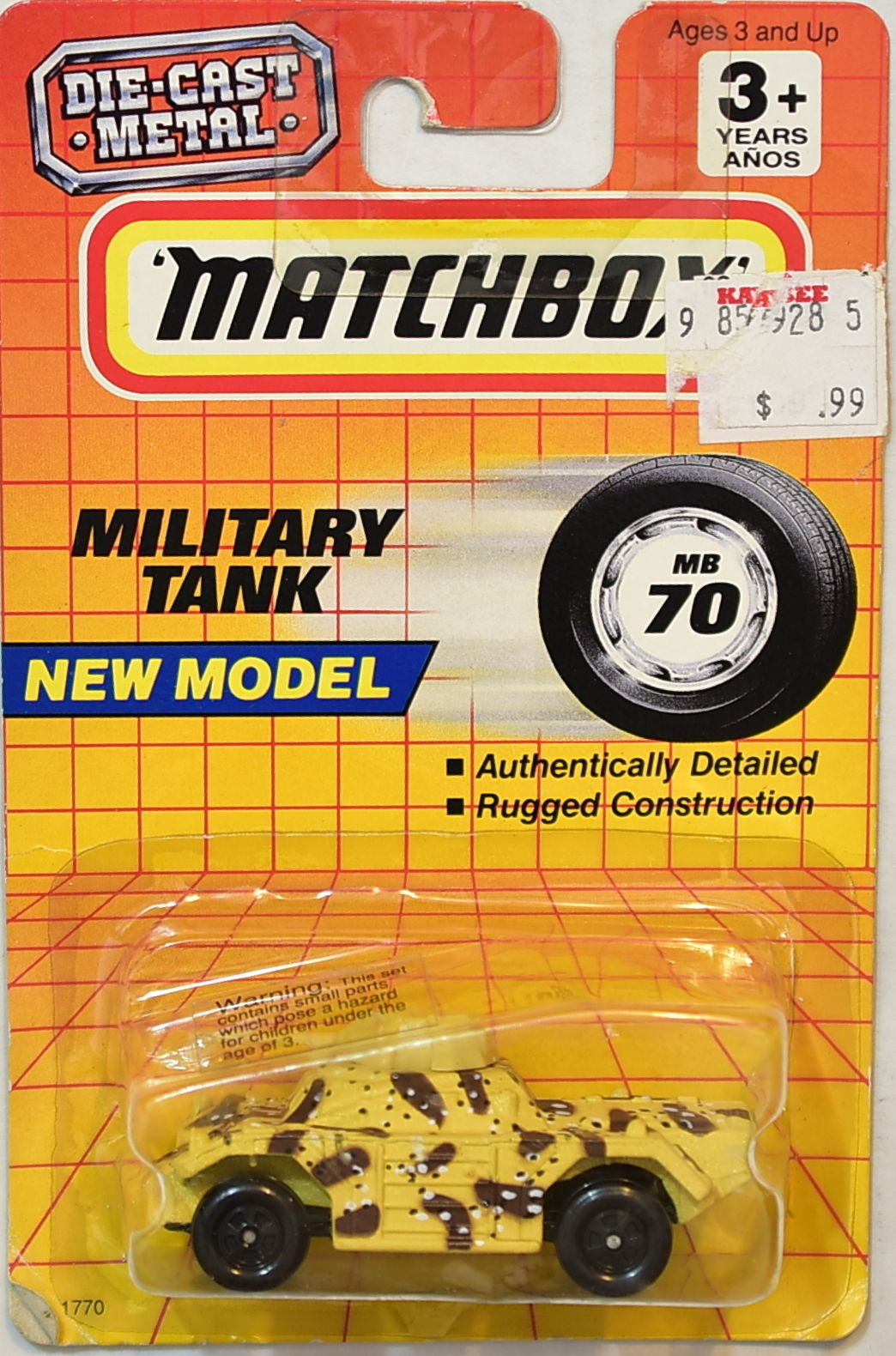 MATCHBOX 1993 NEW MODEL MILITARY TANK #70/75