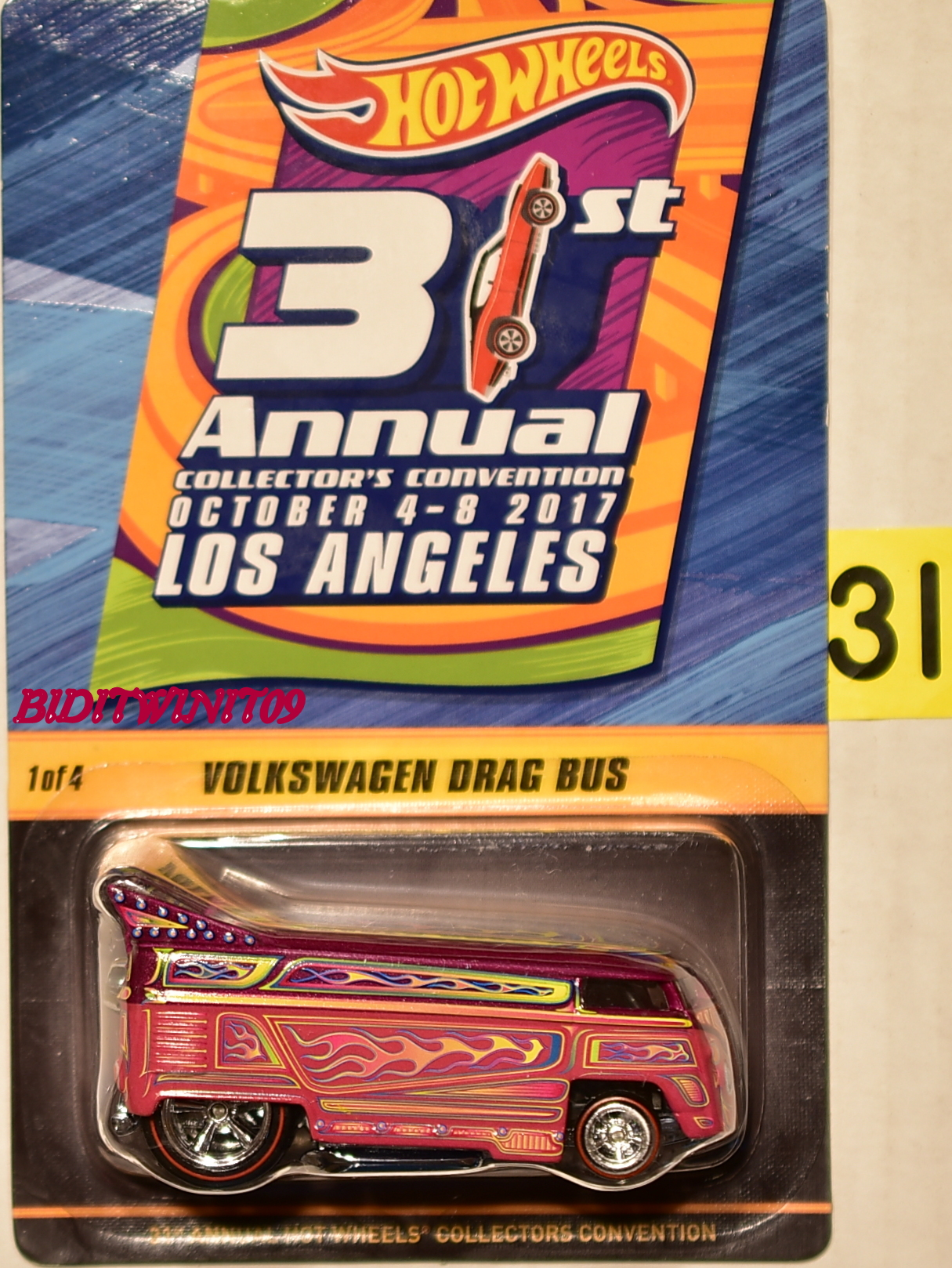 HOT WHEELS 2017 31ST ANNUAL CONVENTION VOLKSWAGEN DRAG BUS #1/4