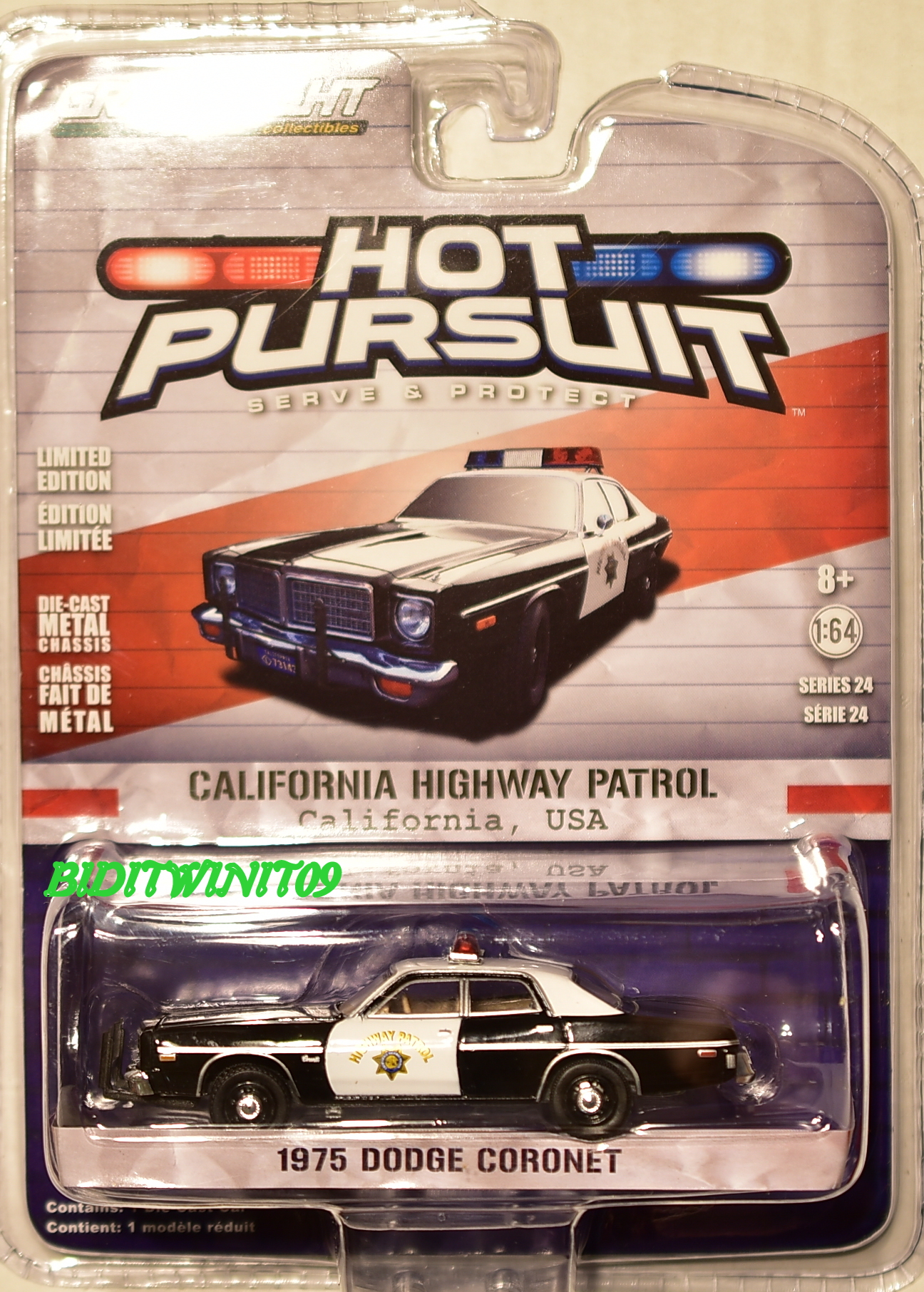 GREENLIGHT 2017 HOT PURSUIT SERIES 24 1975 DODGE CORONET SCALE 1:64