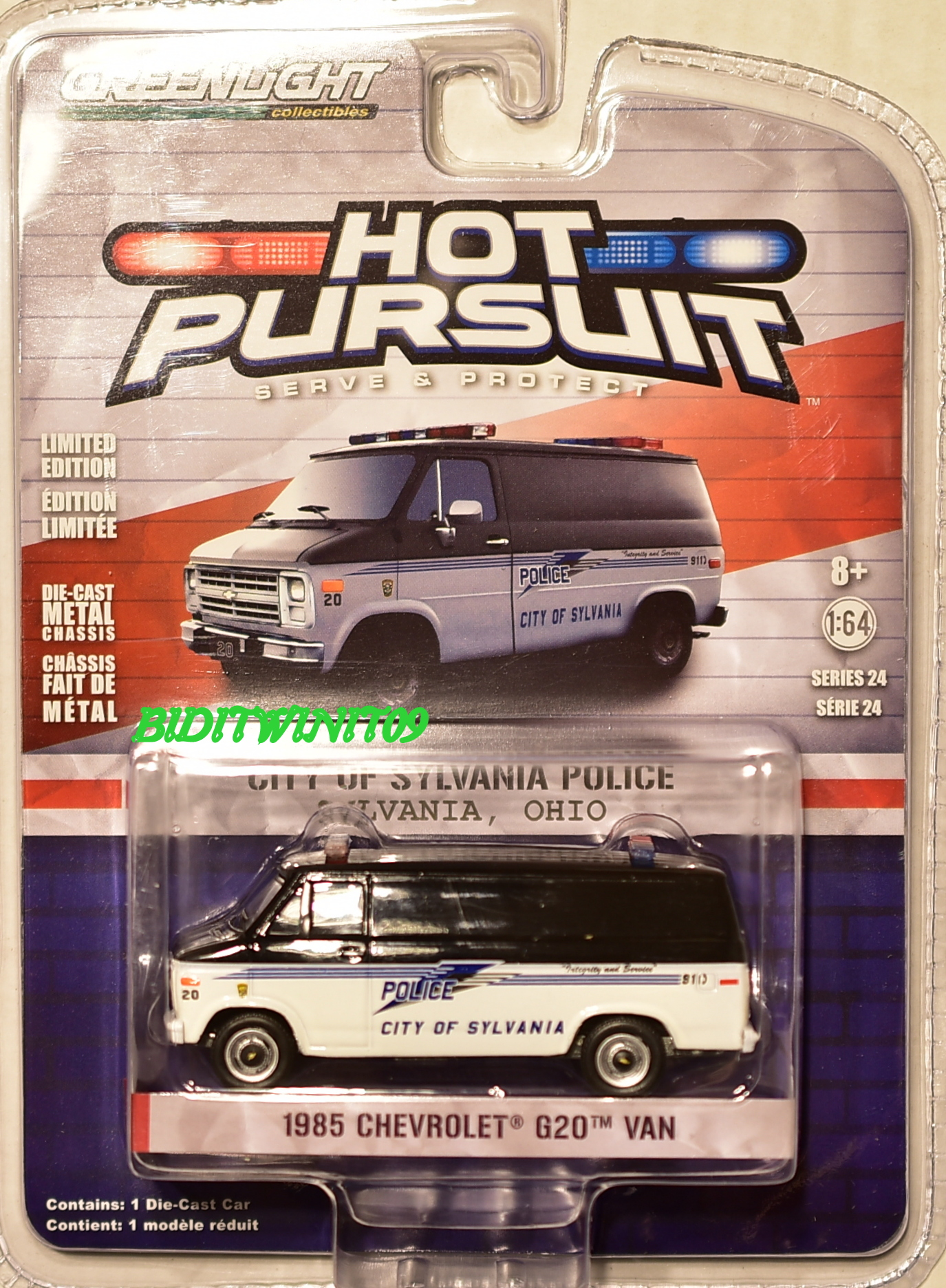 GREENLIGHT 2017 HOT PURSUIT SERIES 24 1985 CHEVROLET G20 VAN POLICE SCALE 1:64