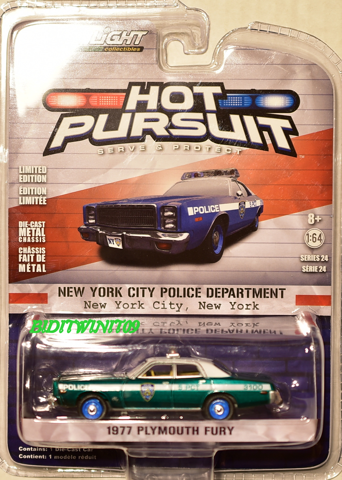 GREENLIGHT 2017 HOT PURSUIT SERIES 24 1977 PLYMOUTH FURY GREEN MACHINE E+