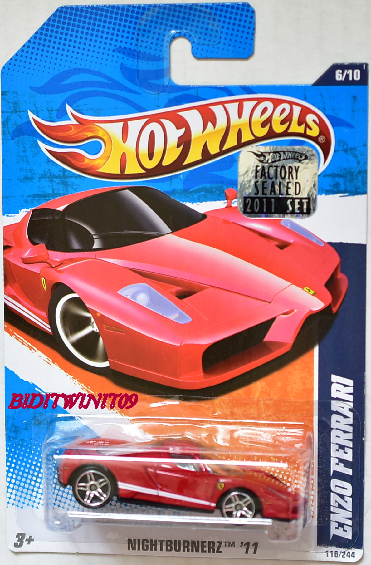 HOT WHEELS 2011 NIGHTBURNERZ ENZO FERRARI RED FACTORY SEALED